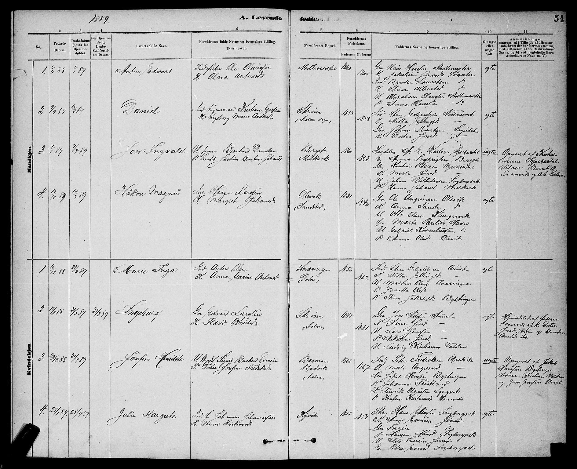 SAT, Ministerialprotokoller, klokkerbøker og fødselsregistre - Sør-Trøndelag, 637/L0562: Klokkerbok nr. 637C03, 1883-1898, s. 54