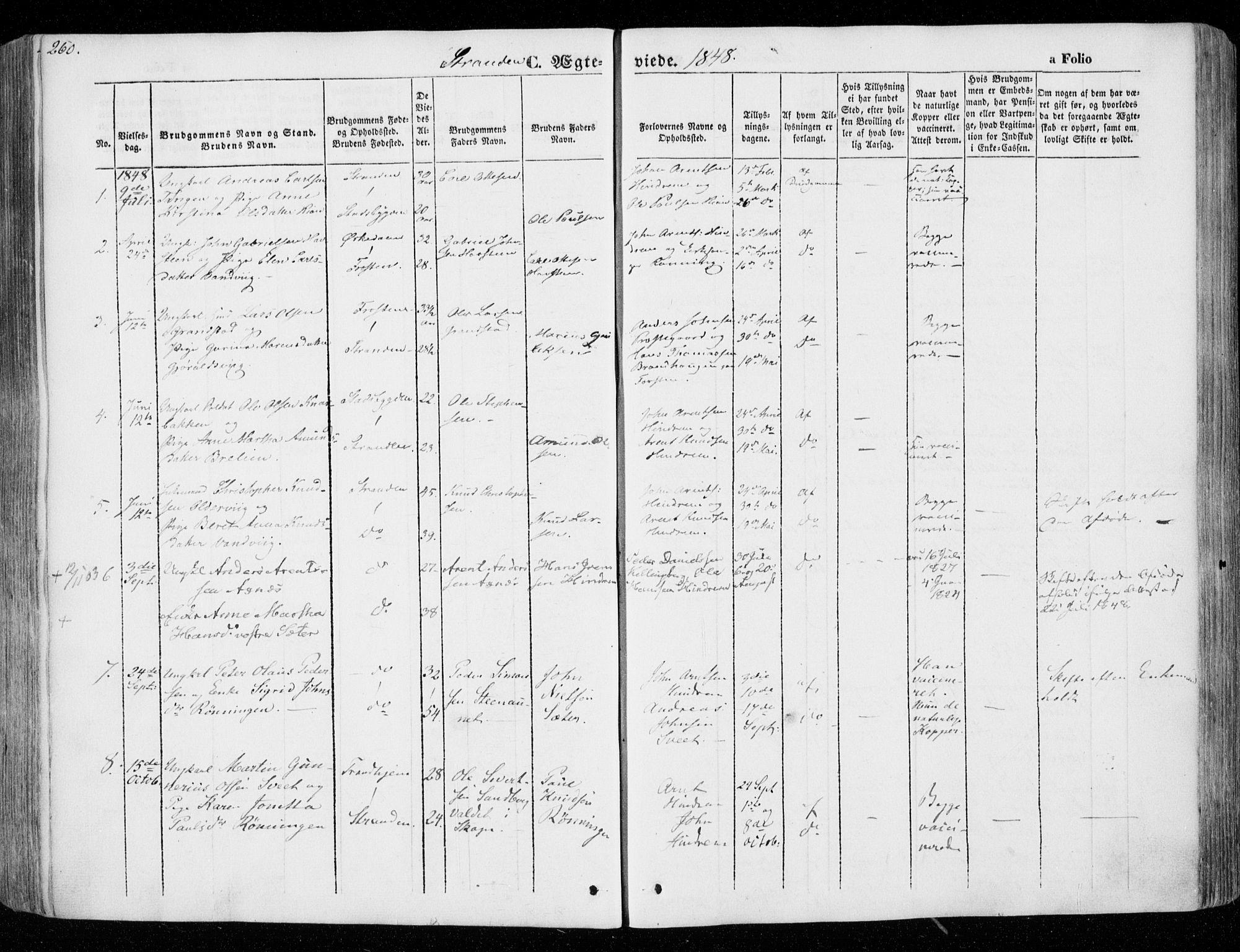 SAT, Ministerialprotokoller, klokkerbøker og fødselsregistre - Nord-Trøndelag, 701/L0007: Ministerialbok nr. 701A07 /2, 1842-1854, s. 260