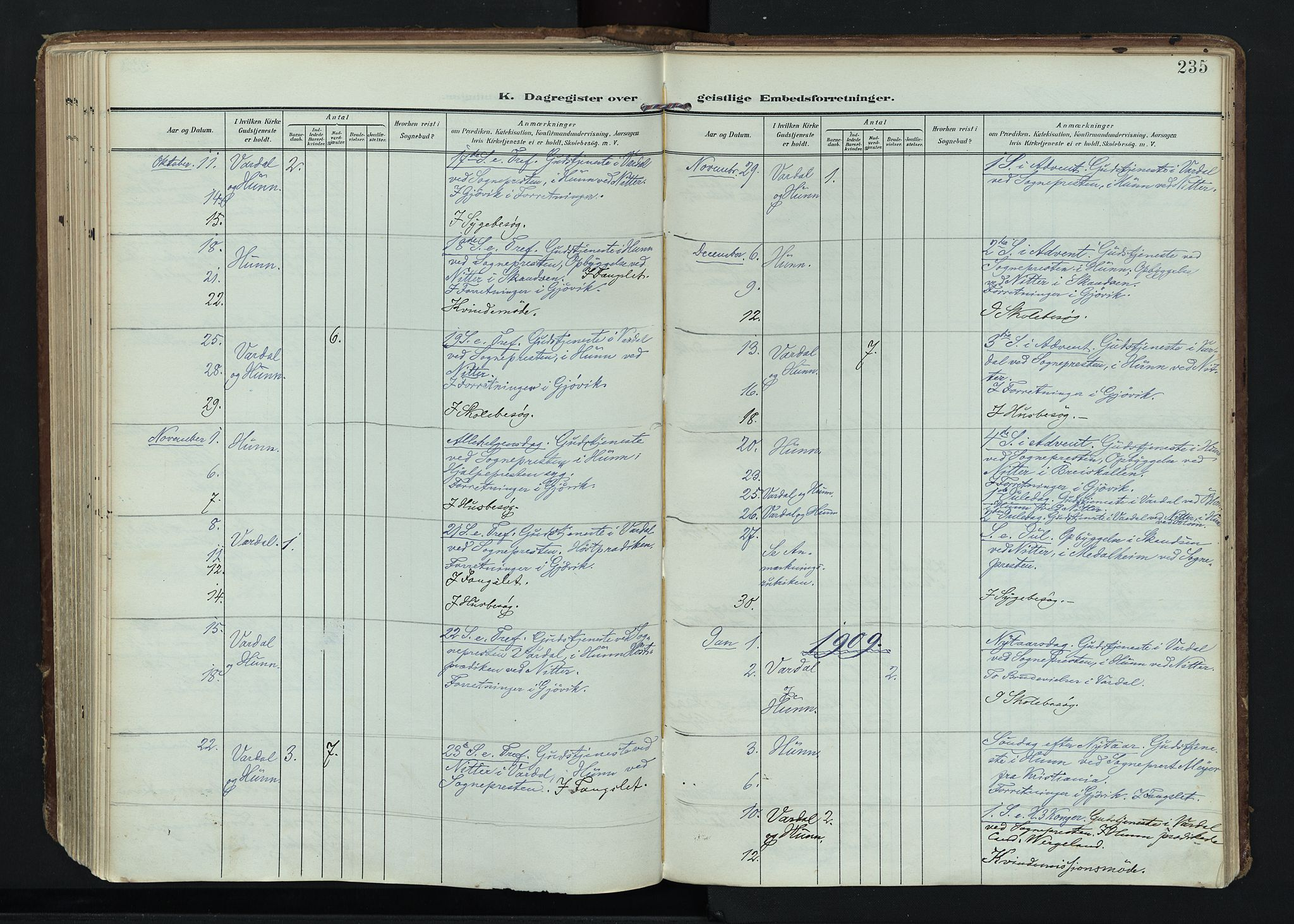 SAH, Vardal prestekontor, H/Ha/Haa/L0020: Ministerialbok nr. 20, 1907-1921, s. 235