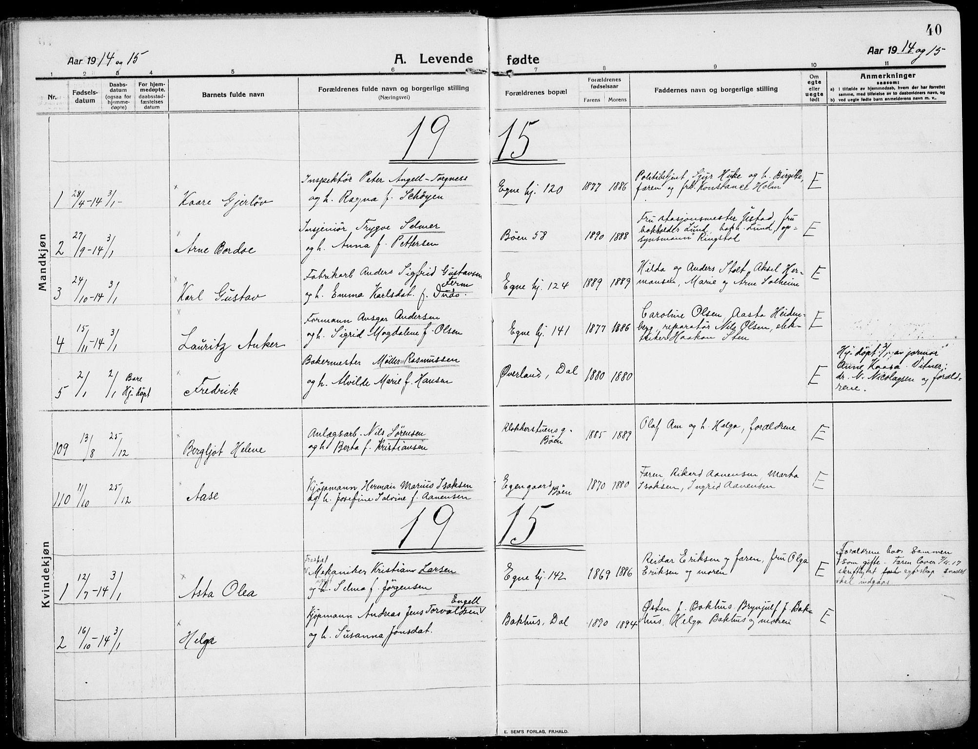 SAKO, Rjukan kirkebøker, F/Fa/L0002: Ministerialbok nr. 2, 1912-1917, s. 40