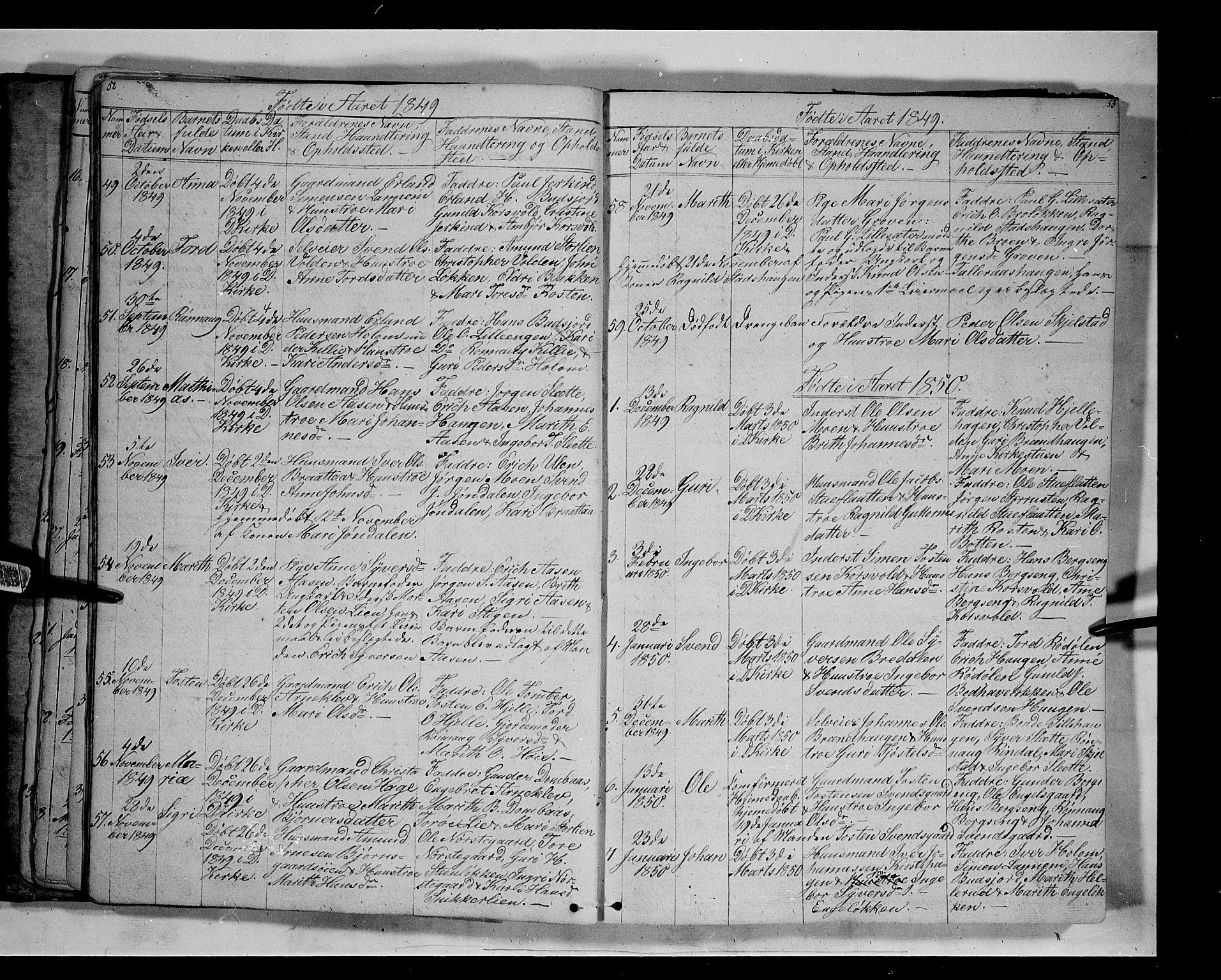 SAH, Lesja prestekontor, Klokkerbok nr. 3, 1842-1862, s. 52-53