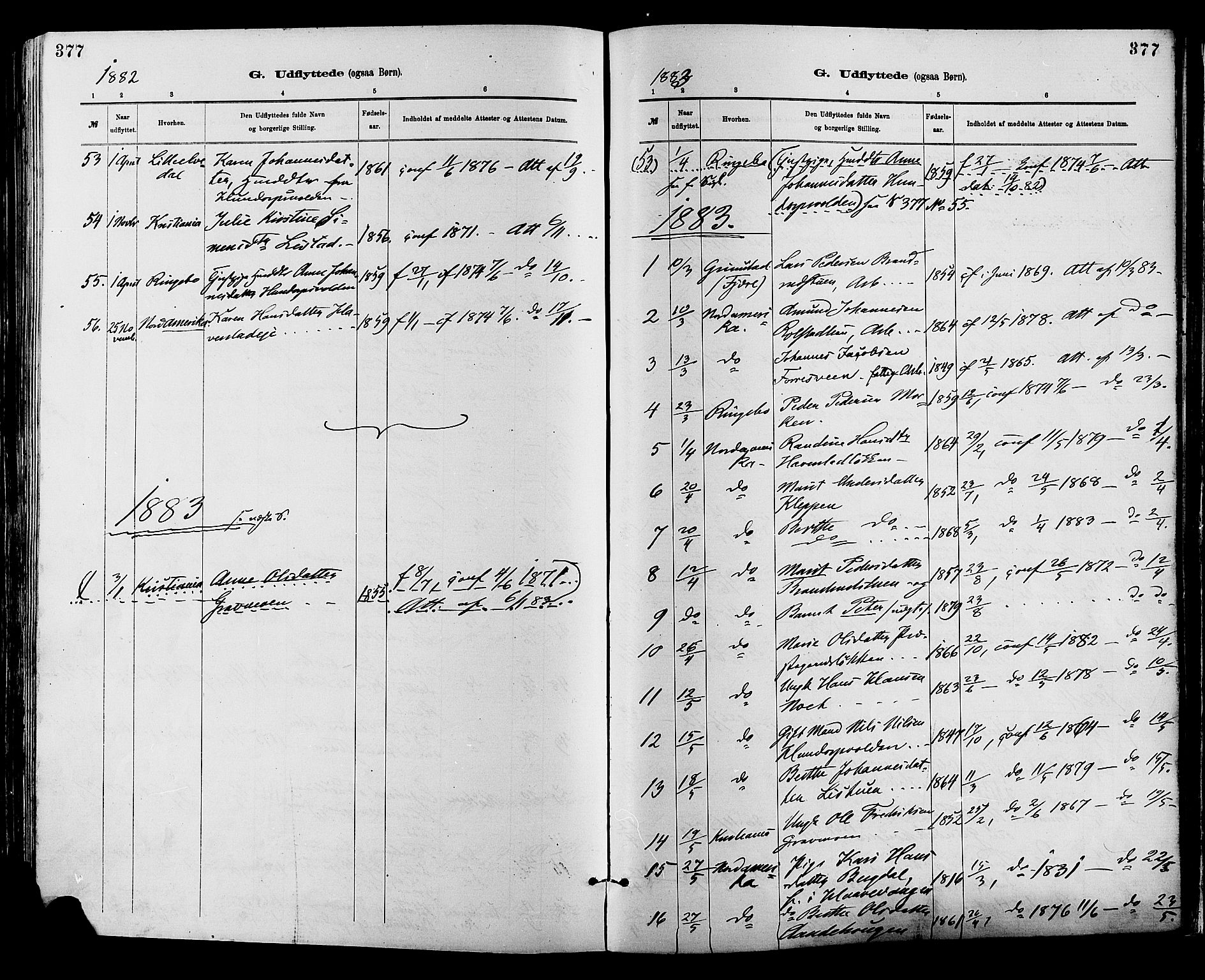 SAH, Sør-Fron prestekontor, H/Ha/Haa/L0003: Ministerialbok nr. 3, 1881-1897, s. 377