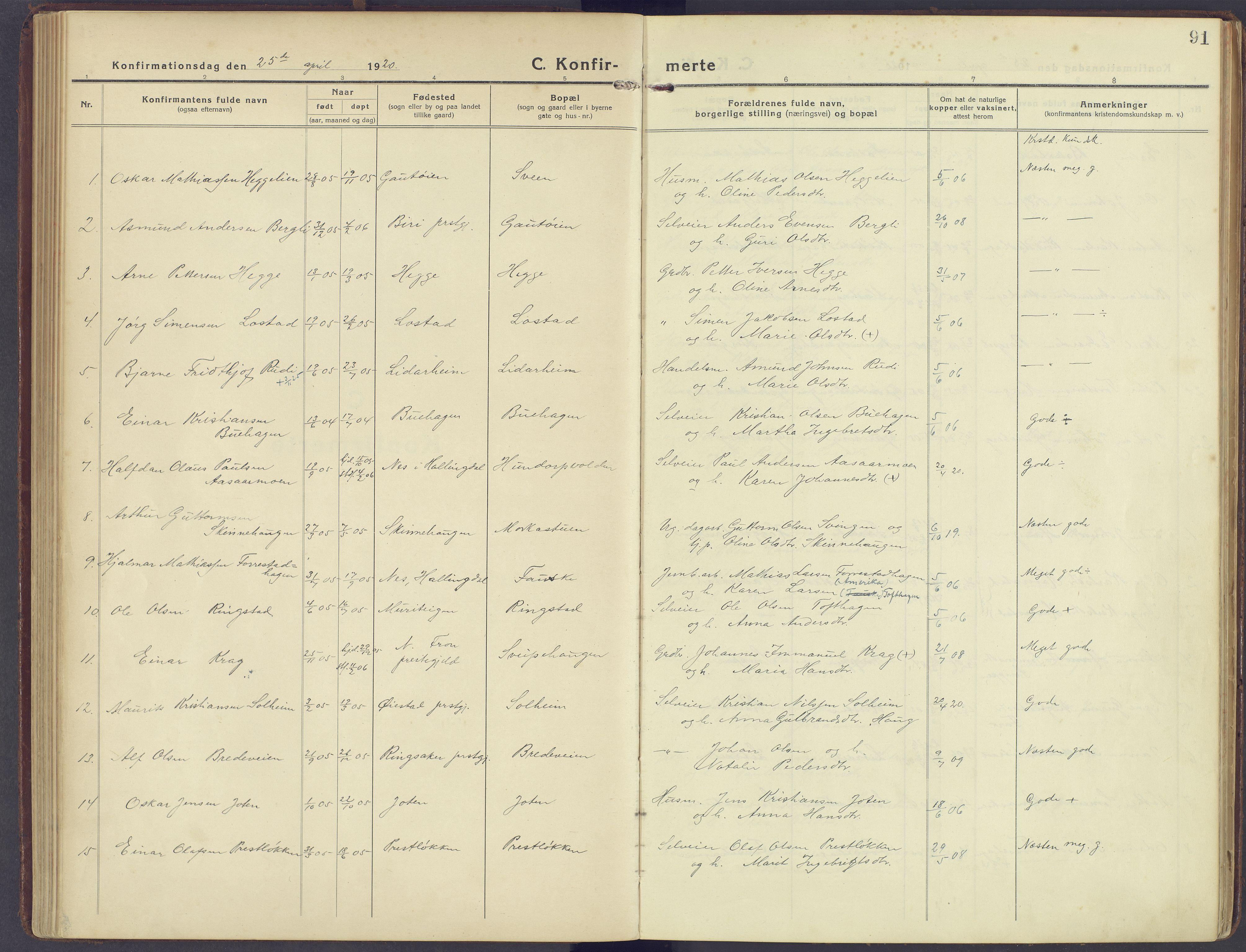 SAH, Sør-Fron prestekontor, H/Ha/Haa/L0005: Ministerialbok nr. 5, 1920-1933, s. 91