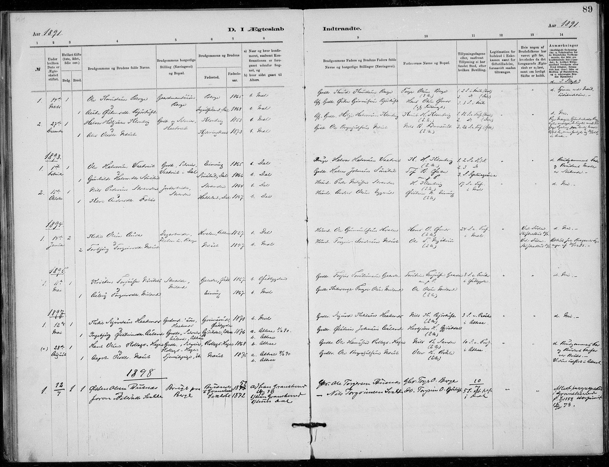 SAKO, Tinn kirkebøker, F/Fb/L0002: Ministerialbok nr. II 2, 1878-1917, s. 89