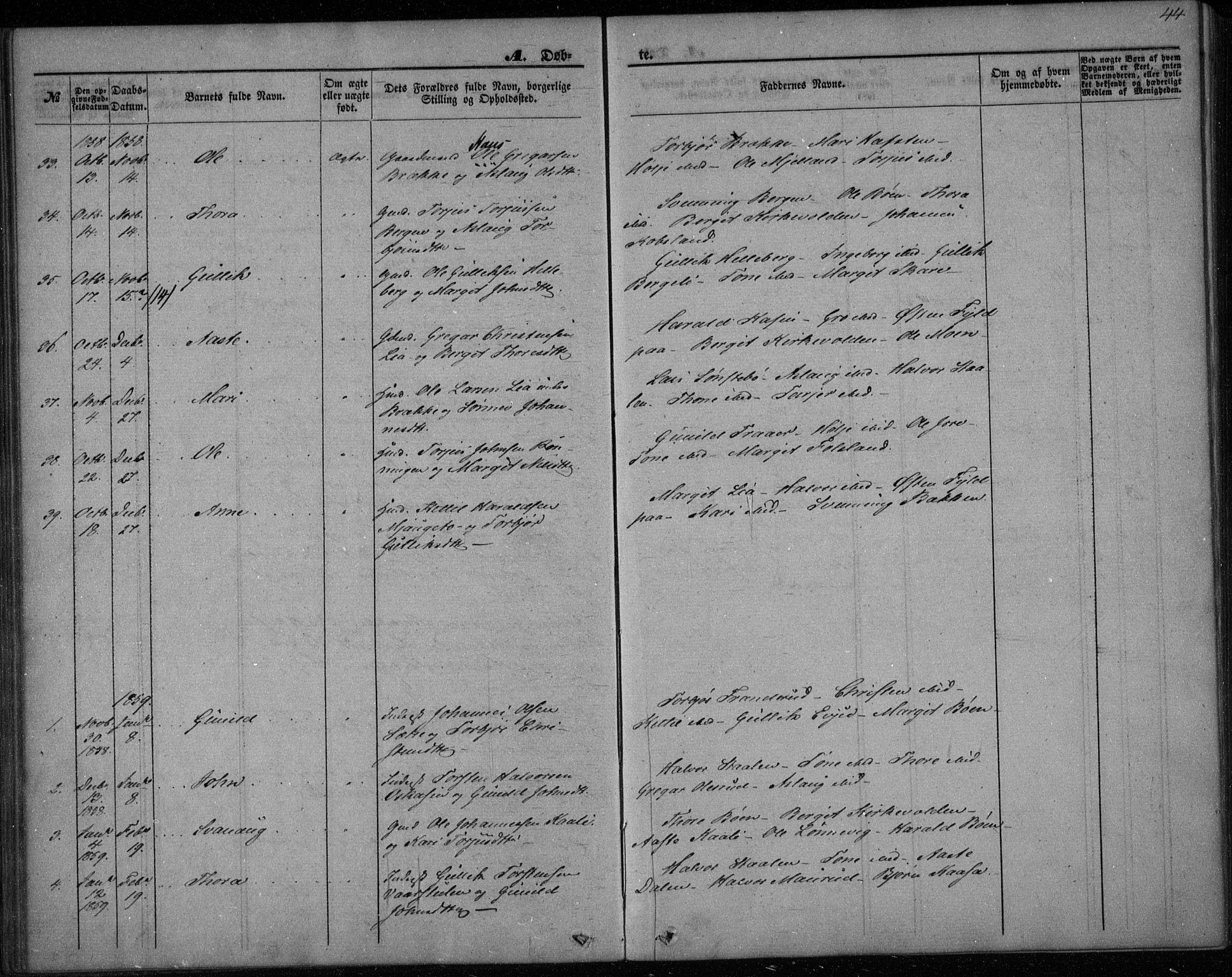 SAKO, Gransherad kirkebøker, F/Fa/L0002: Ministerialbok nr. I 2, 1844-1859, s. 44