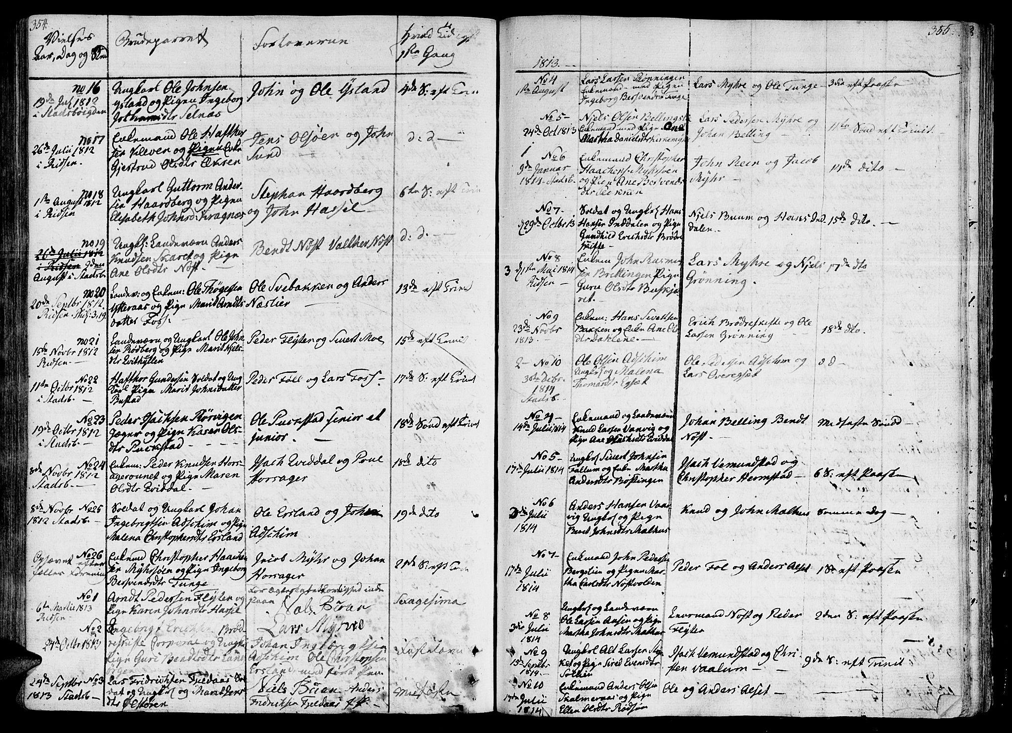 SAT, Ministerialprotokoller, klokkerbøker og fødselsregistre - Sør-Trøndelag, 646/L0607: Ministerialbok nr. 646A05, 1806-1815, s. 354-355