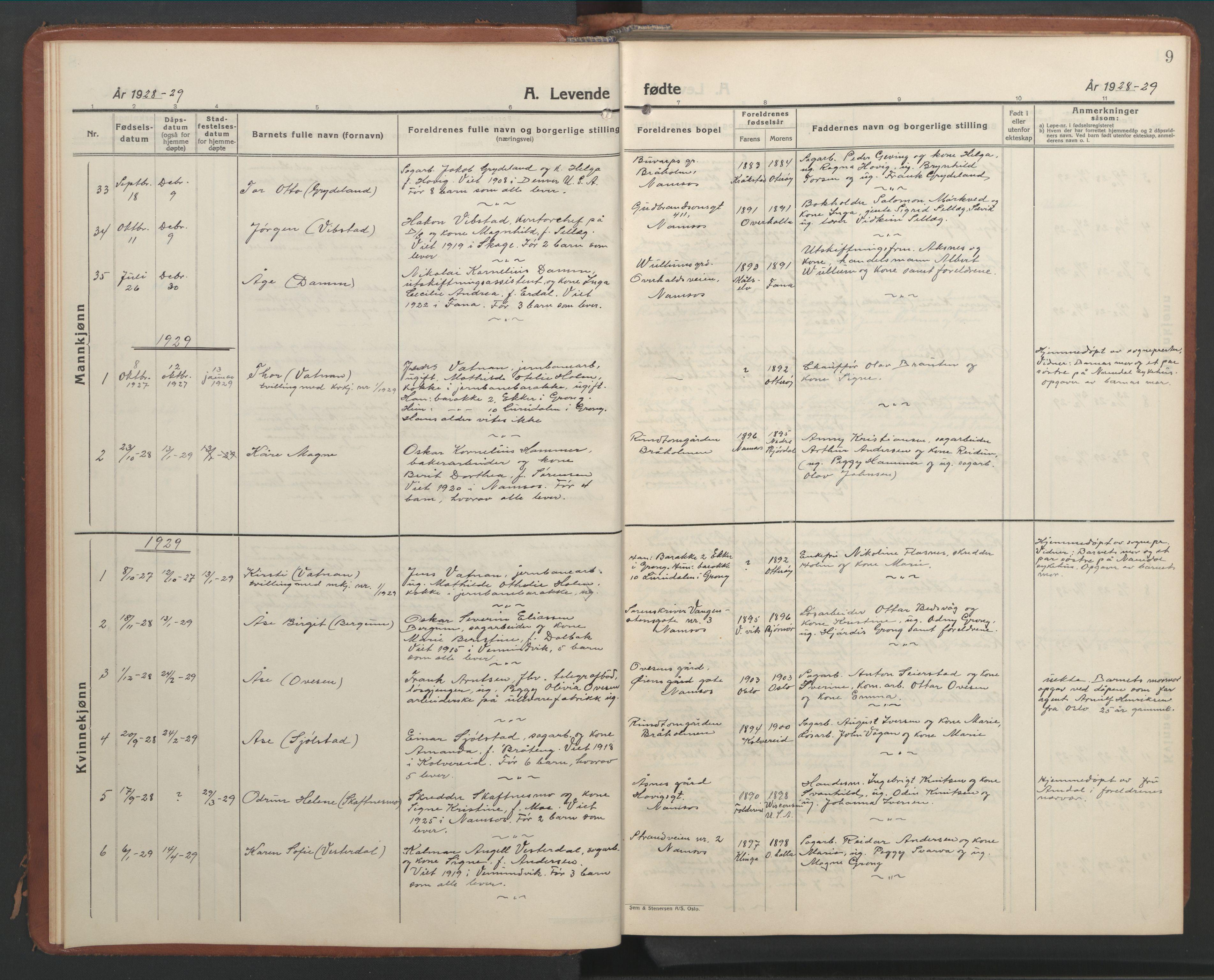 SAT, Ministerialprotokoller, klokkerbøker og fødselsregistre - Nord-Trøndelag, 768/L0583: Klokkerbok nr. 768C01, 1928-1953, s. 9