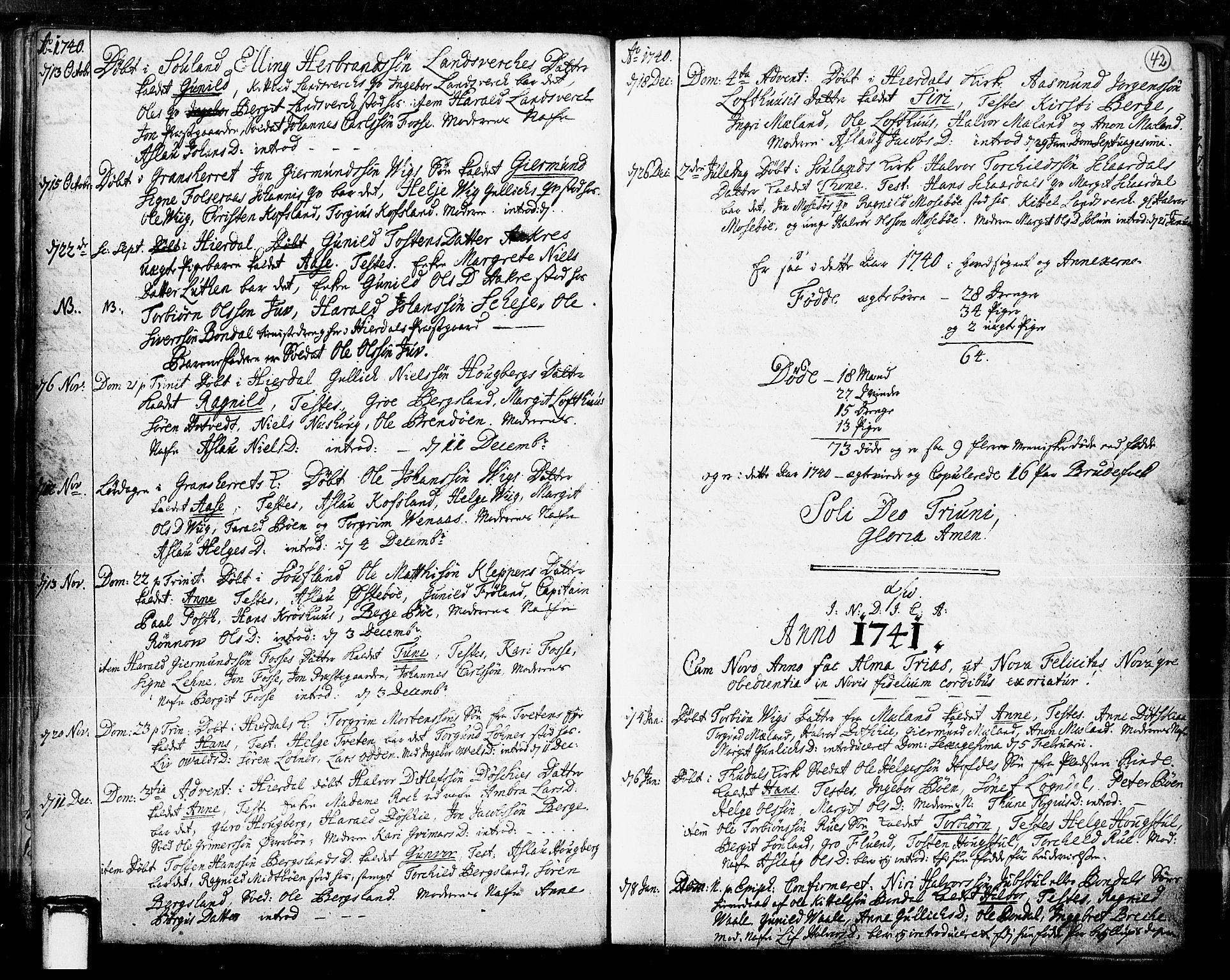 SAKO, Hjartdal kirkebøker, F/Fa/L0003: Ministerialbok nr. I 3, 1727-1775, s. 42
