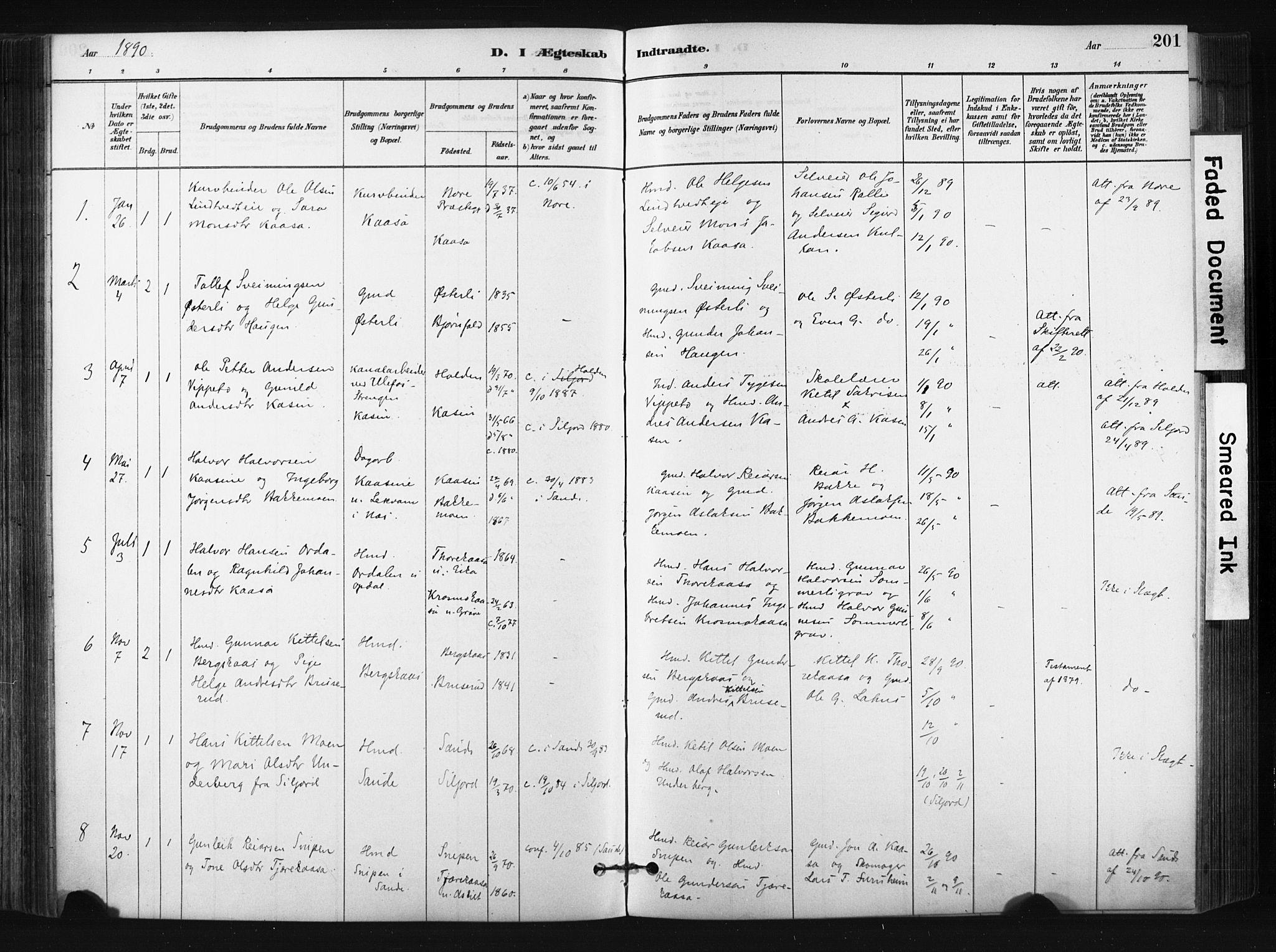 SAKO, Bø kirkebøker, F/Fa/L0010: Ministerialbok nr. 10, 1880-1892, s. 201