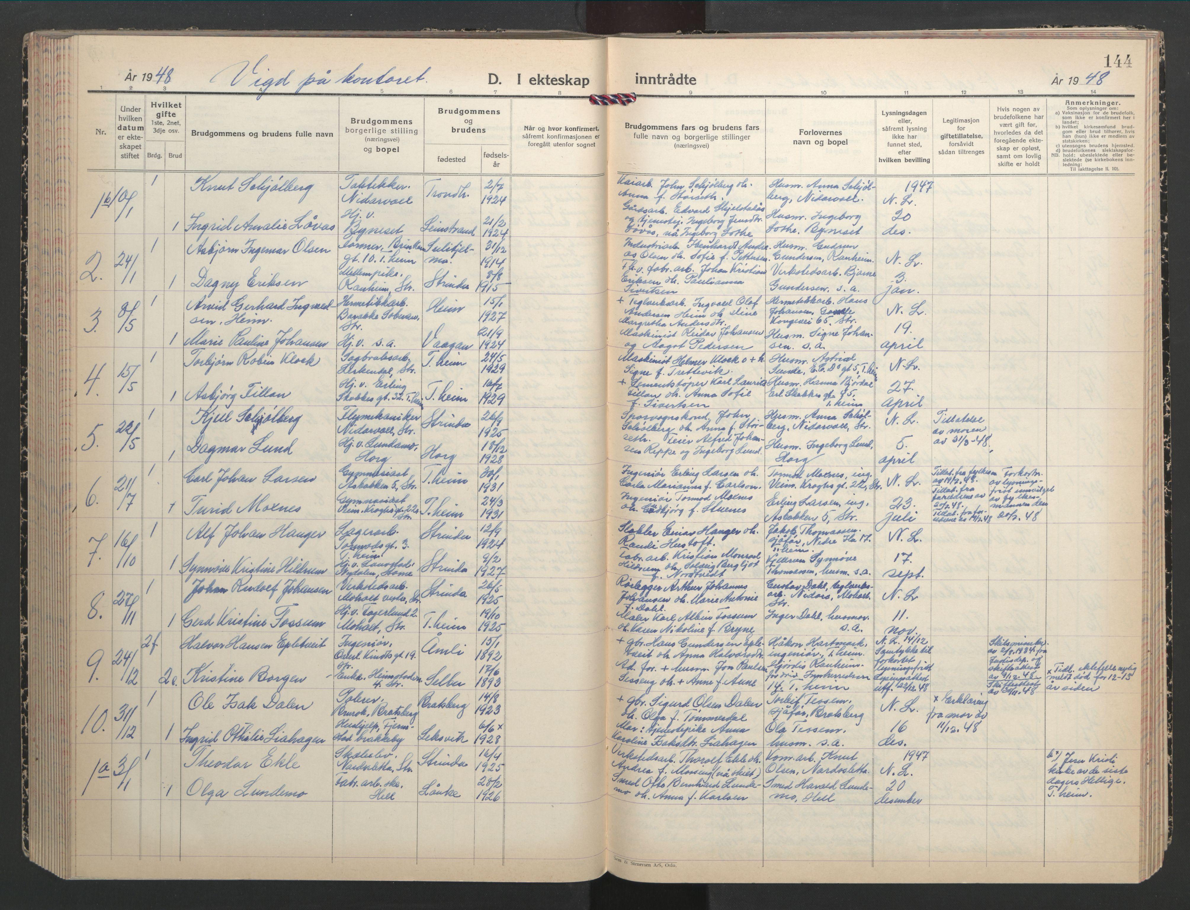 SAT, Ministerialprotokoller, klokkerbøker og fødselsregistre - Sør-Trøndelag, 607/L0328: Klokkerbok nr. 607C02, 1940-1948, s. 144