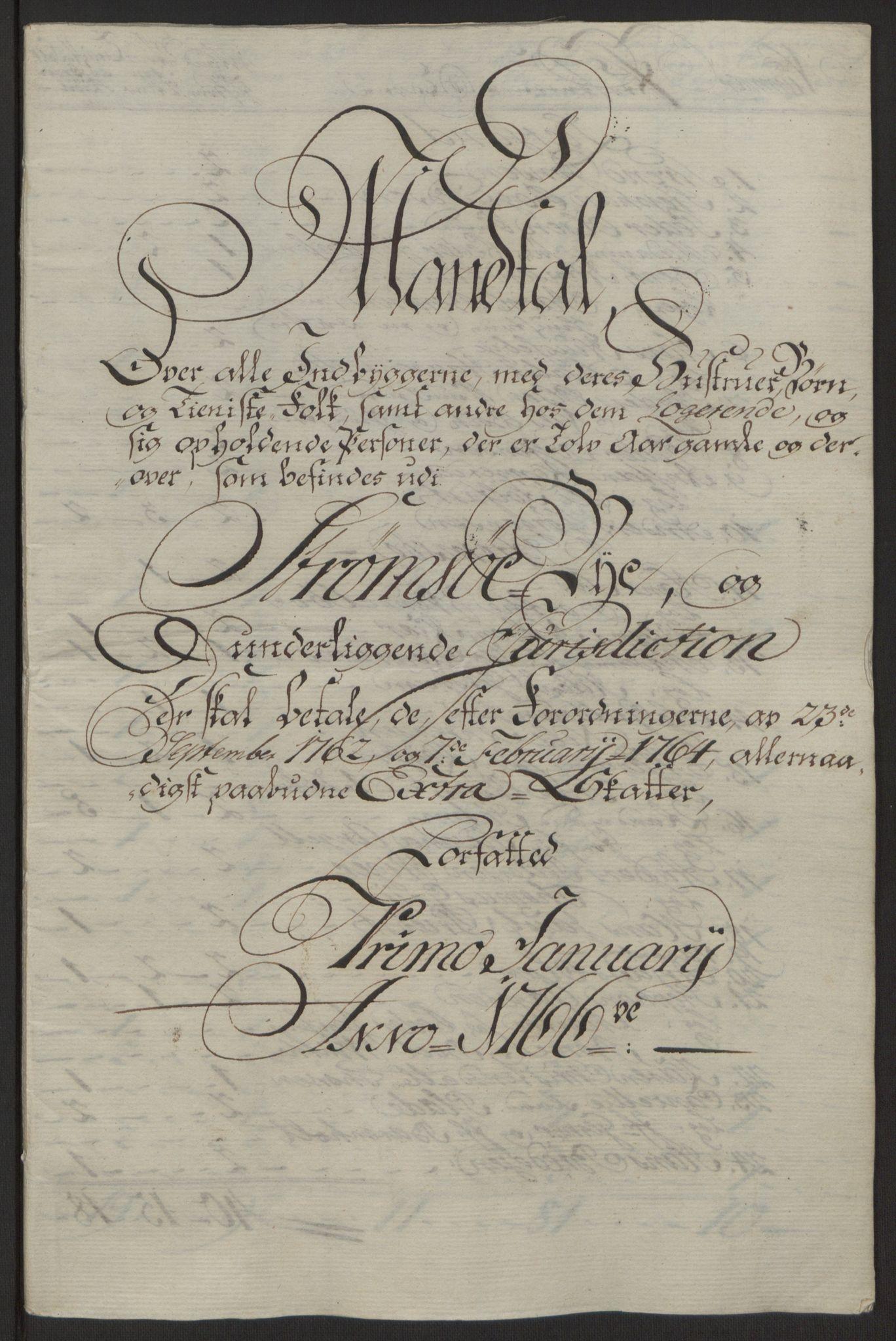 RA, Rentekammeret inntil 1814, Reviderte regnskaper, Byregnskaper, R/Rg/L0144: [G4] Kontribusjonsregnskap, 1762-1767, s. 428