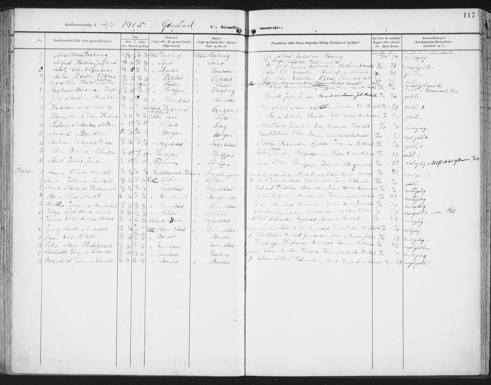 SAT, Ministerialprotokoller, klokkerbøker og fødselsregistre - Nord-Trøndelag, 786/L0688: Ministerialbok nr. 786A04, 1899-1912, s. 117