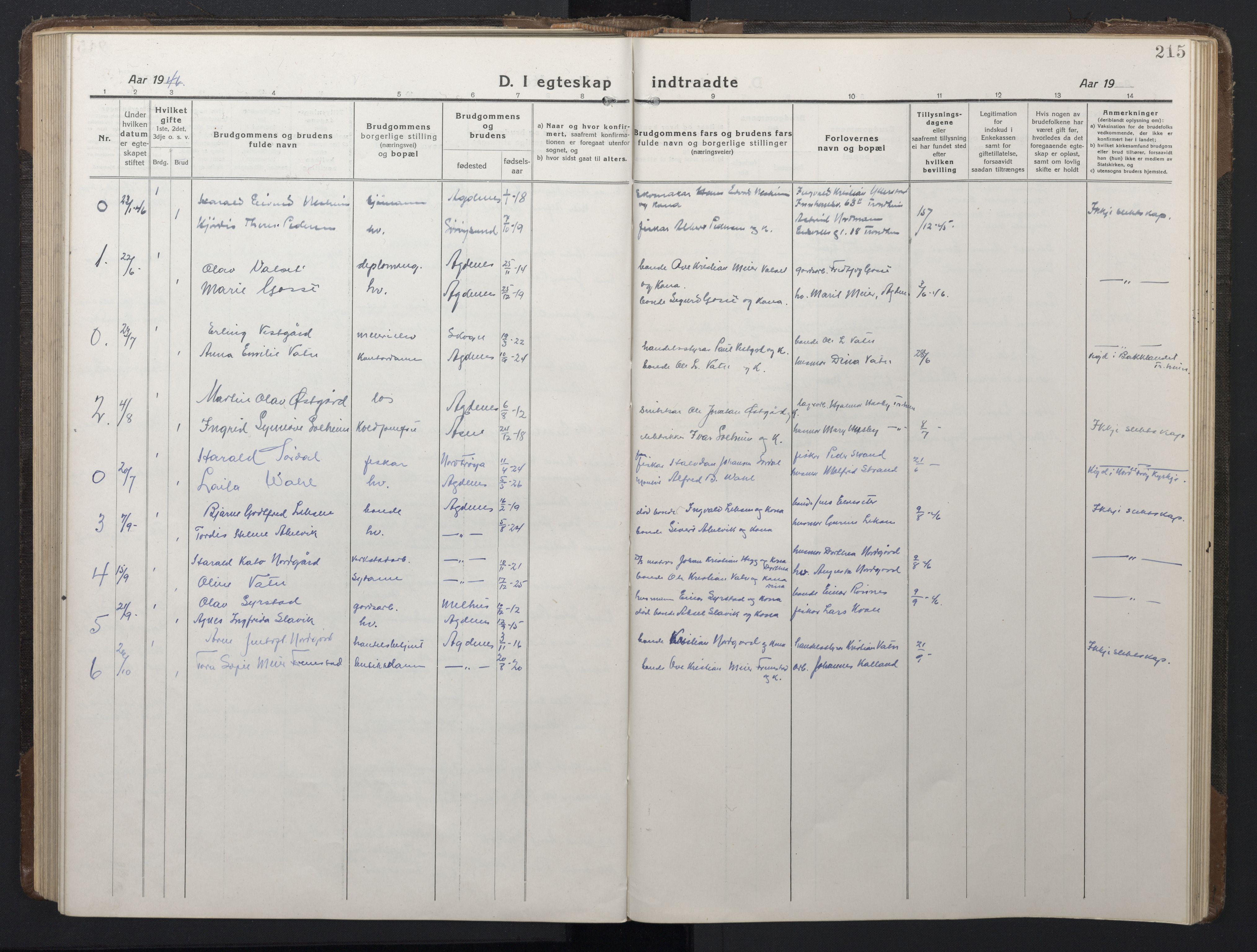 SAT, Ministerialprotokoller, klokkerbøker og fødselsregistre - Sør-Trøndelag, 662/L0758: Klokkerbok nr. 662C03, 1918-1948, s. 215
