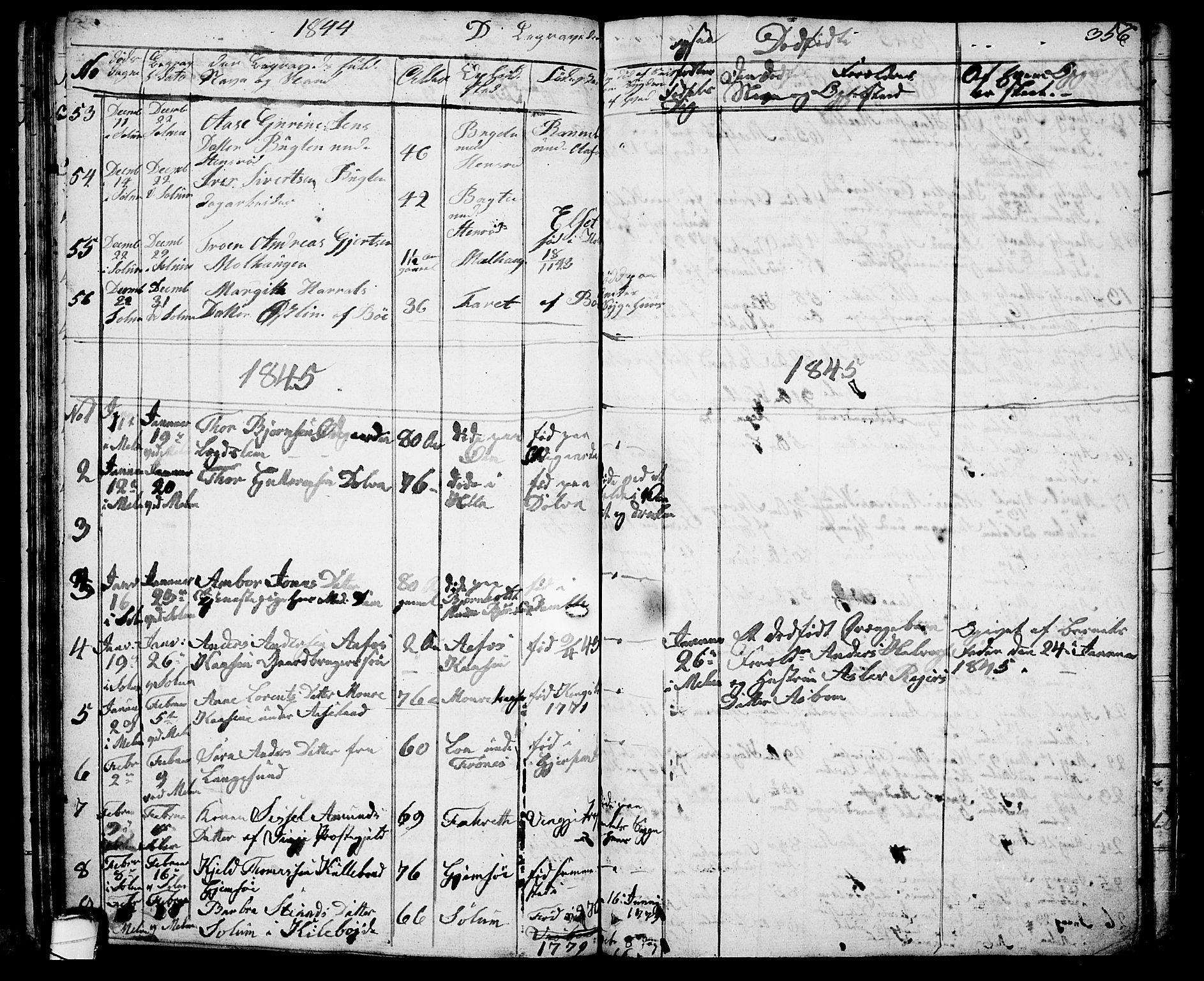 SAKO, Solum kirkebøker, G/Ga/L0002: Klokkerbok nr. I 2, 1834-1848, s. 356