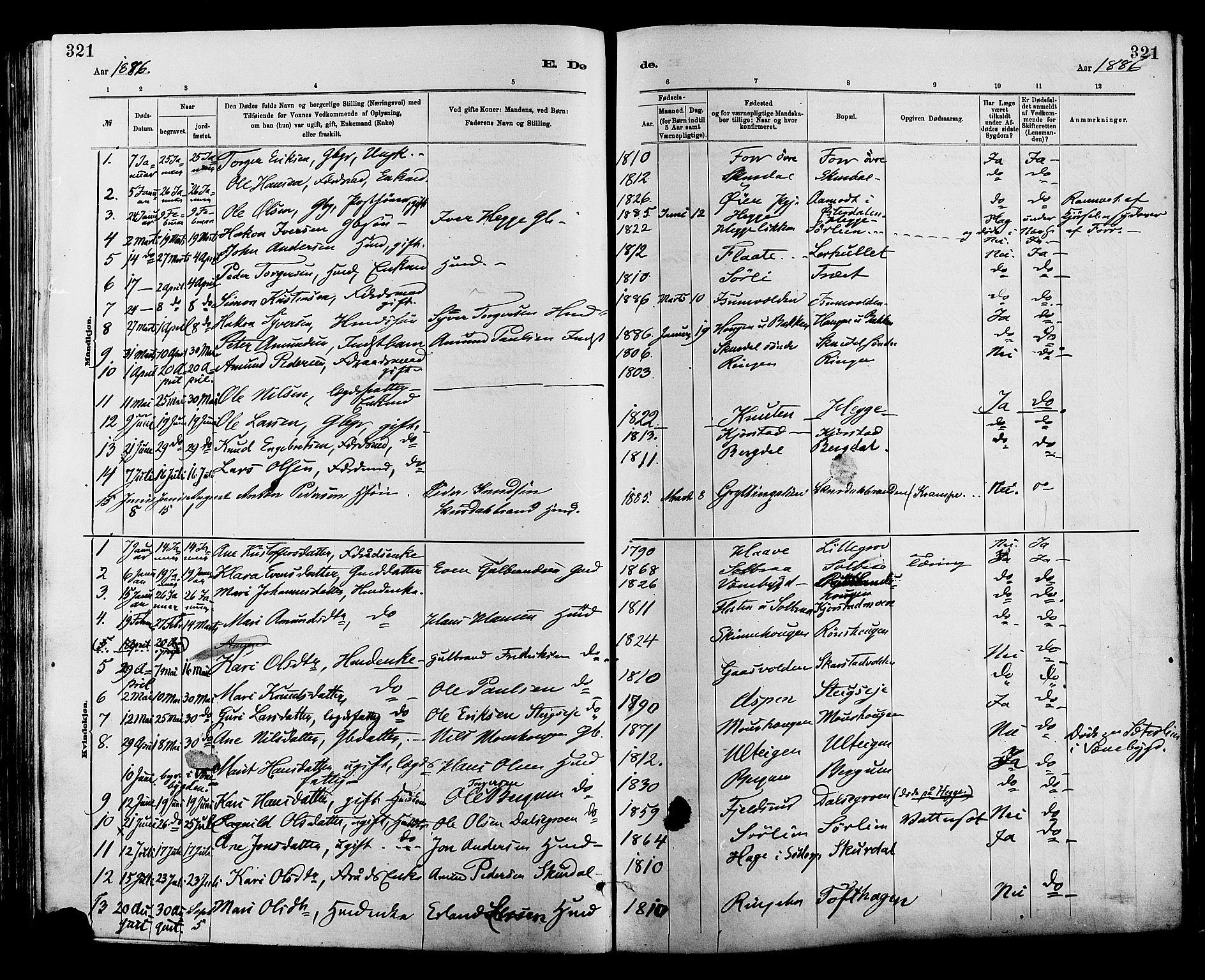 SAH, Sør-Fron prestekontor, H/Ha/Haa/L0003: Ministerialbok nr. 3, 1881-1897, s. 321