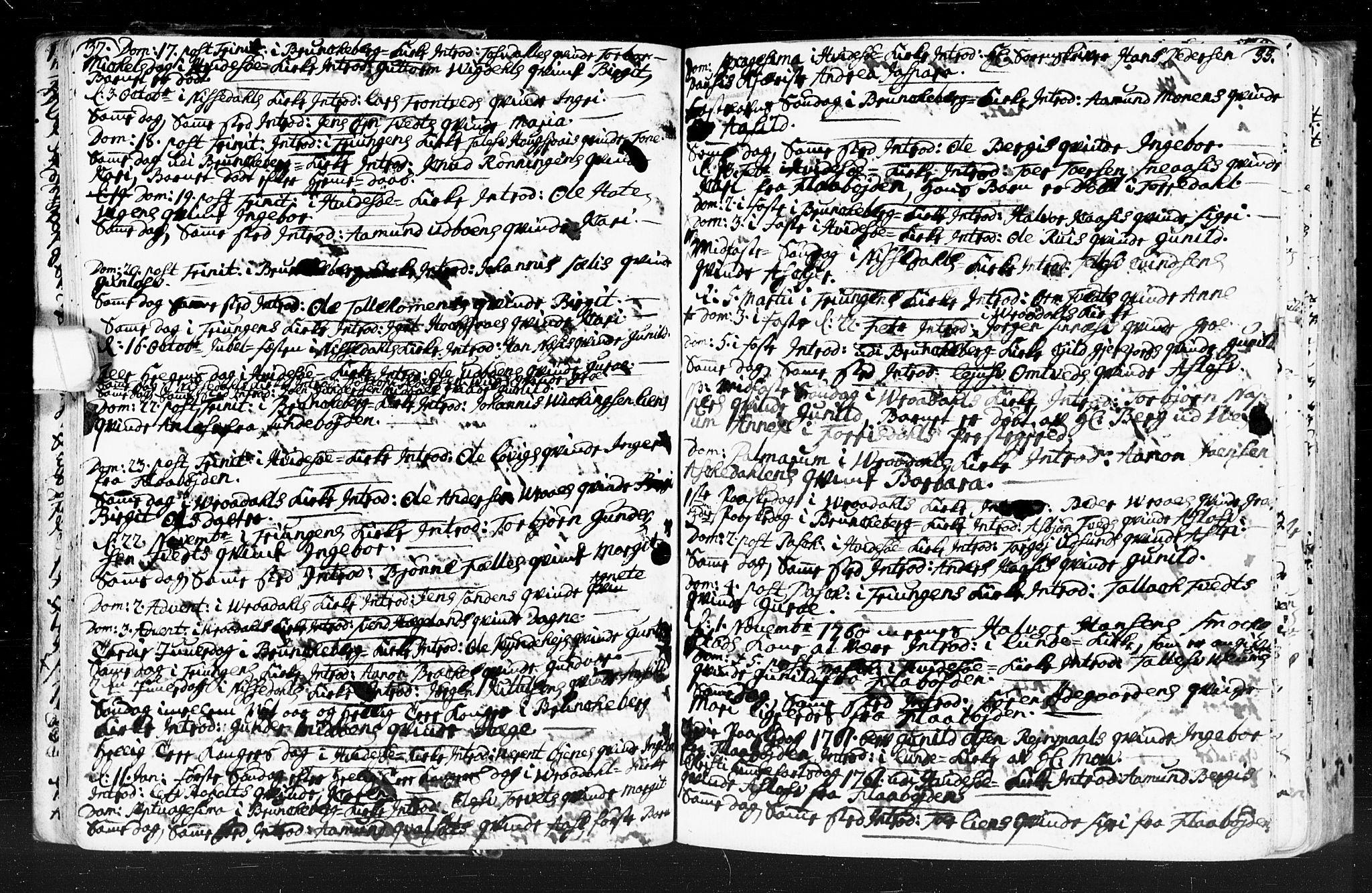 SAKO, Kviteseid kirkebøker, F/Fa/L0001: Ministerialbok nr. I 1, 1754-1773, s. 32-33