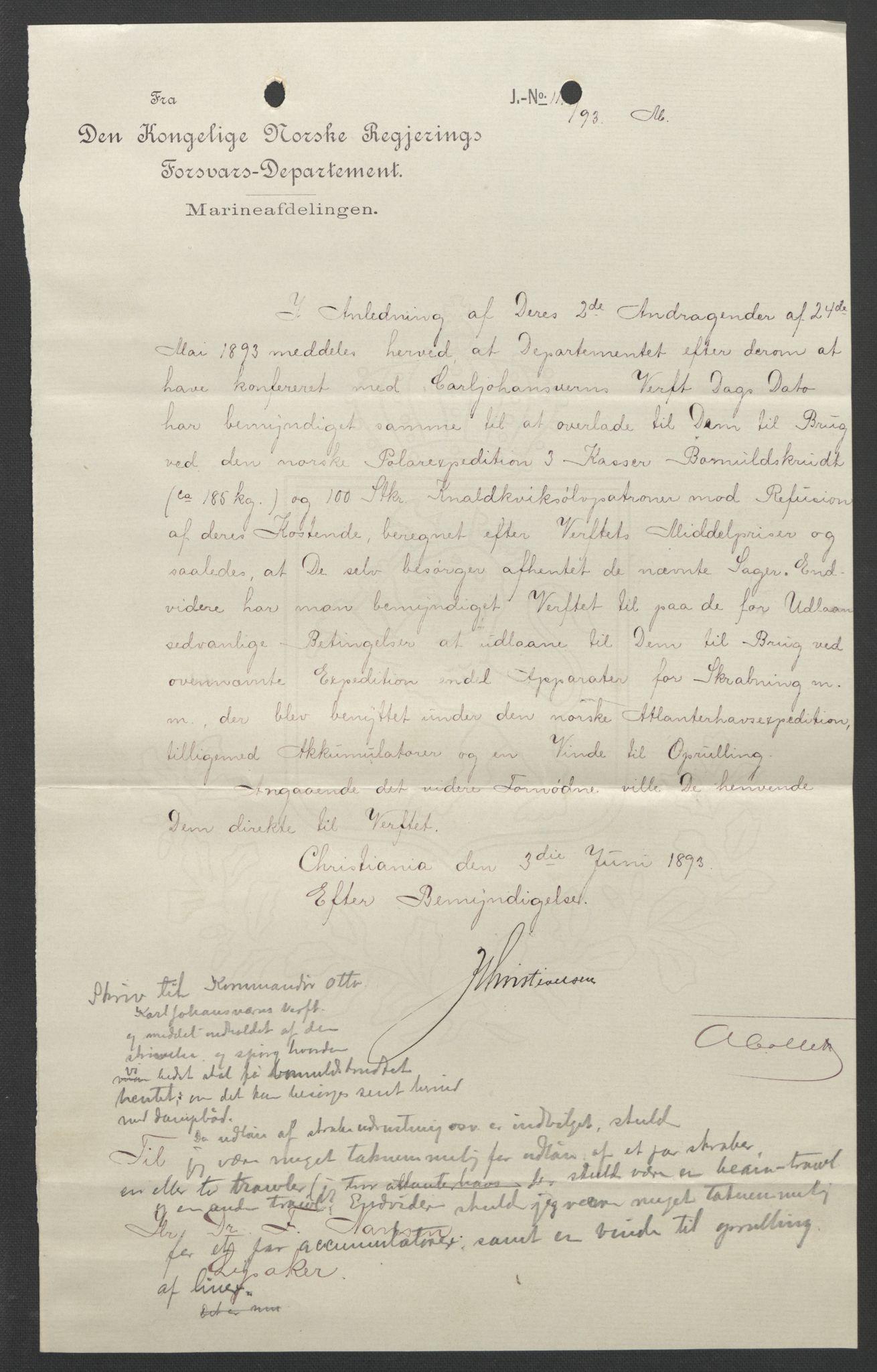 RA, Arbeidskomitéen for Fridtjof Nansens polarekspedisjon, D/L0003: Innk. brev og telegrammer vedr. proviant og utrustning, 1893, s. 170