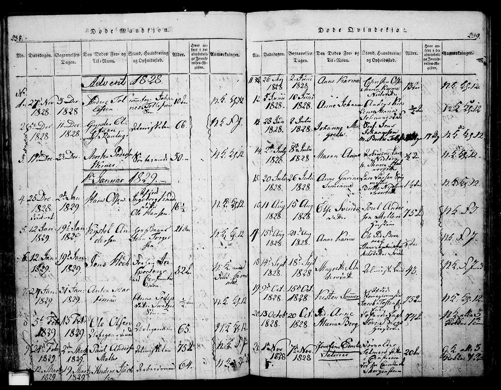 SAKO, Skien kirkebøker, G/Ga/L0002: Klokkerbok nr. 2, 1814-1842, s. 238-239