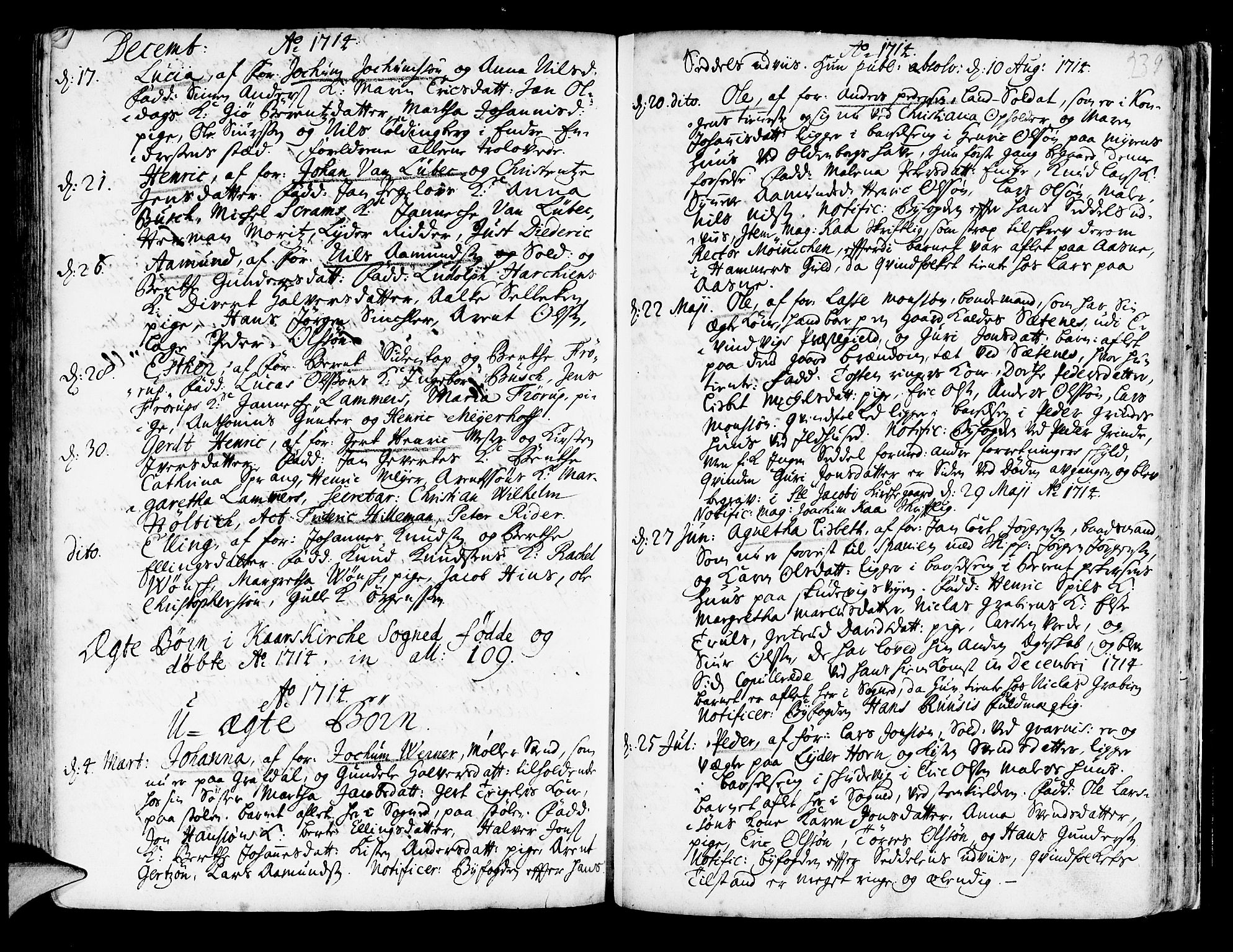 SAB, Korskirken Sokneprestembete, H/Haa/L0003: Ministerialbok nr. A 3, 1698-1719, s. 239
