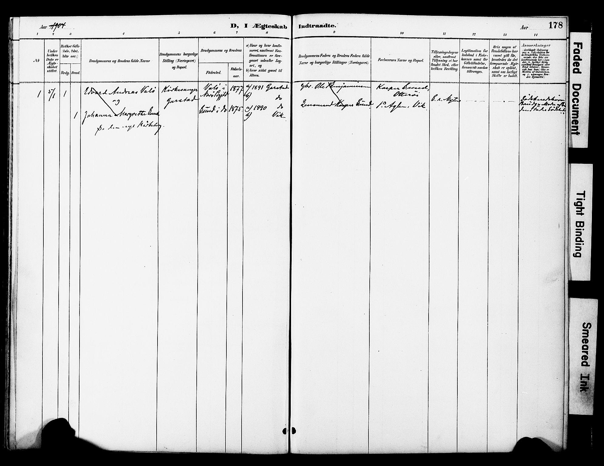 SAT, Ministerialprotokoller, klokkerbøker og fødselsregistre - Nord-Trøndelag, 774/L0628: Ministerialbok nr. 774A02, 1887-1903, s. 178