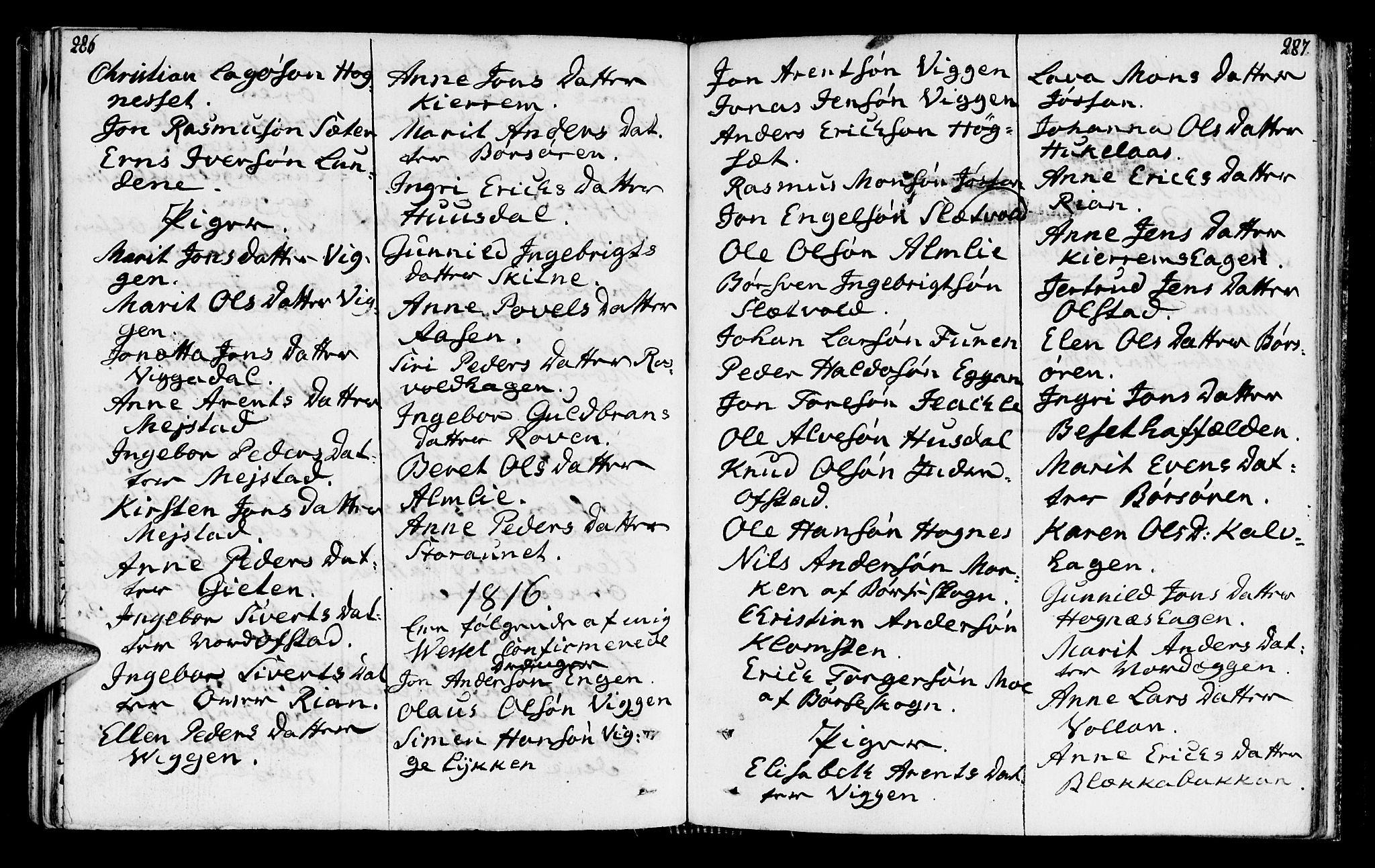 SAT, Ministerialprotokoller, klokkerbøker og fødselsregistre - Sør-Trøndelag, 665/L0769: Ministerialbok nr. 665A04, 1803-1816, s. 286-287