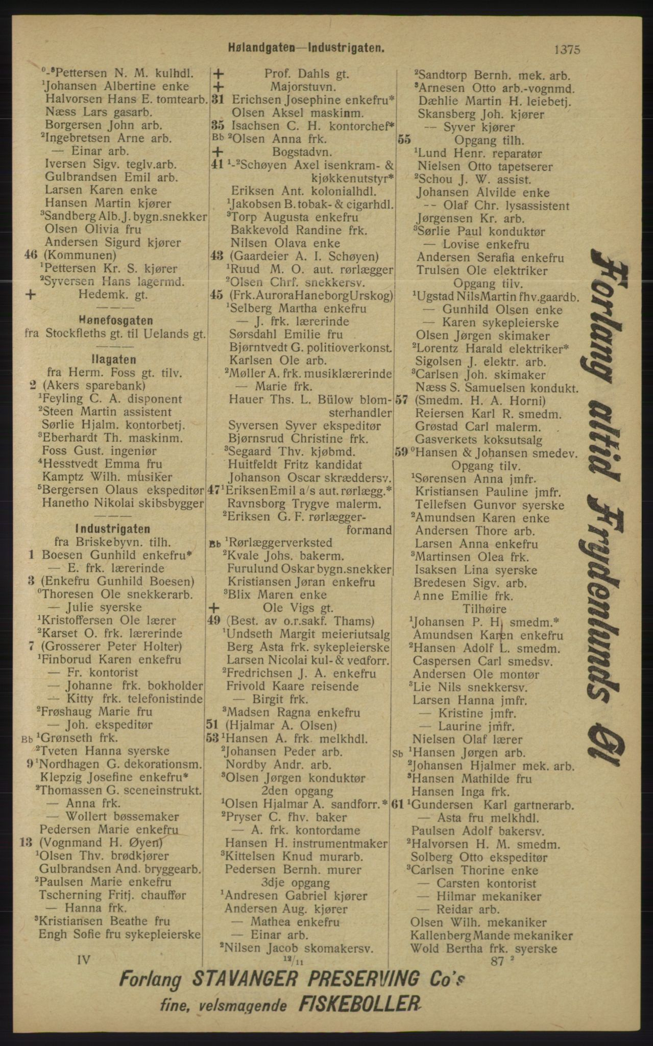 RA, Kristiania adressebok (publikasjon)*, 1913, s. 1375