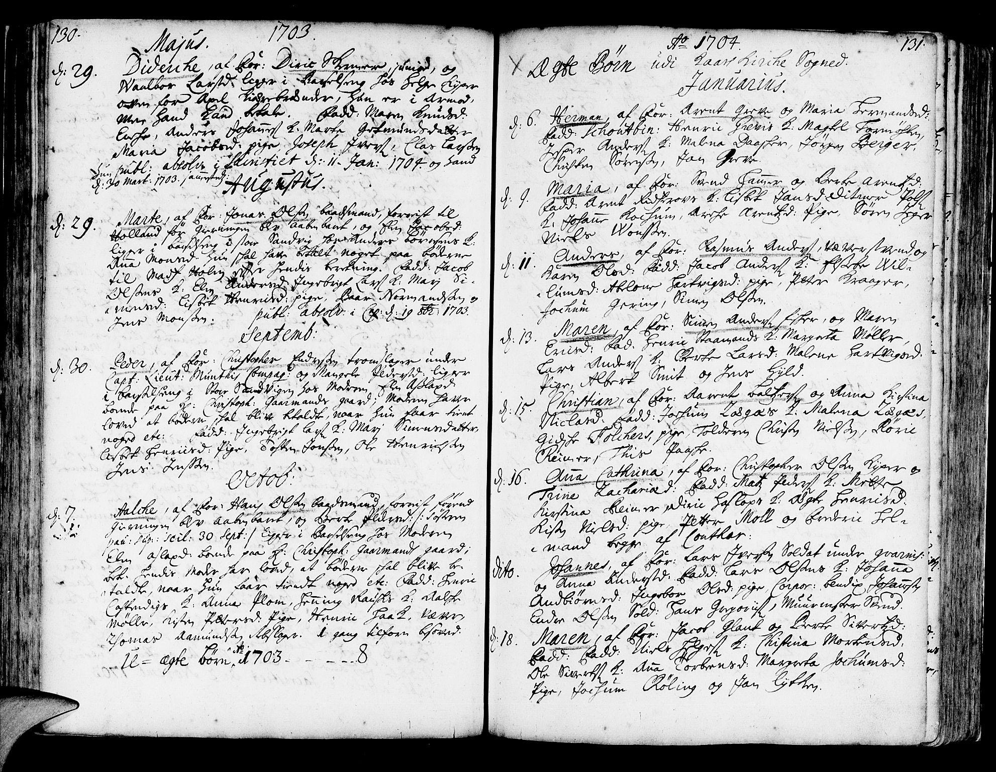 SAB, Korskirken Sokneprestembete, H/Haa/L0003: Ministerialbok nr. A 3, 1698-1719, s. 130-131