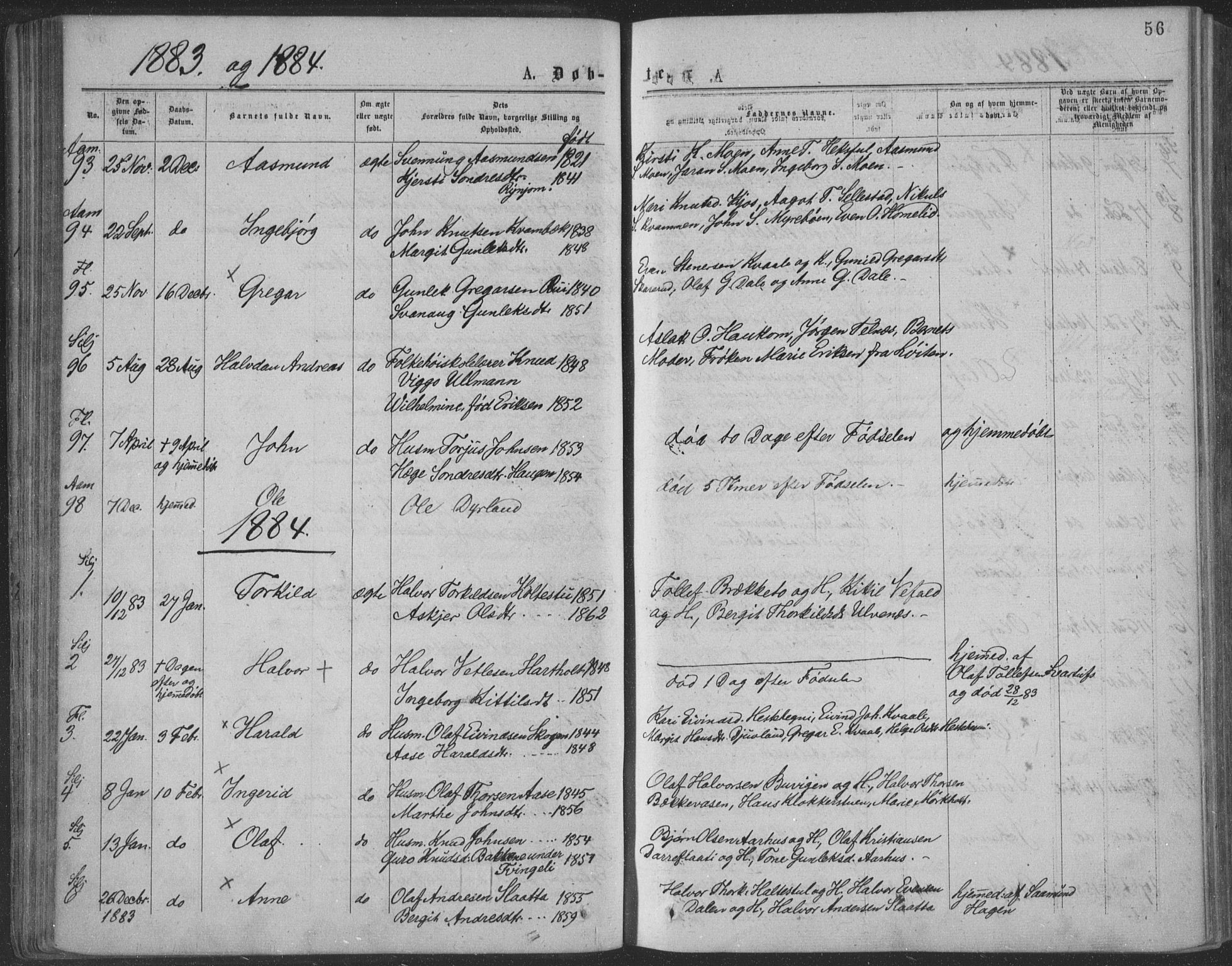 SAKO, Seljord kirkebøker, F/Fa/L0014: Ministerialbok nr. I 14, 1877-1886, s. 56