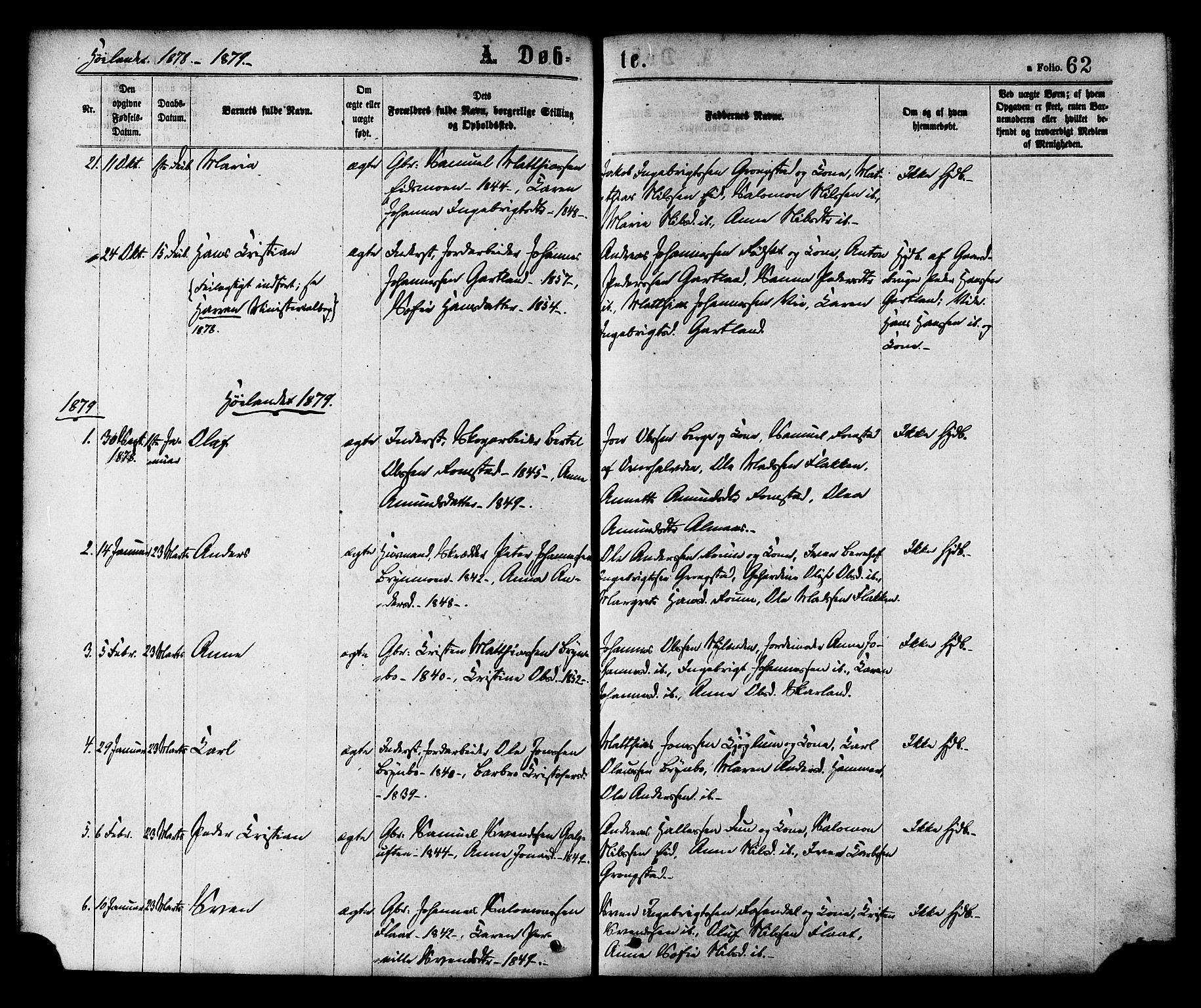 SAT, Ministerialprotokoller, klokkerbøker og fødselsregistre - Nord-Trøndelag, 758/L0516: Ministerialbok nr. 758A03 /2, 1869-1879, s. 62