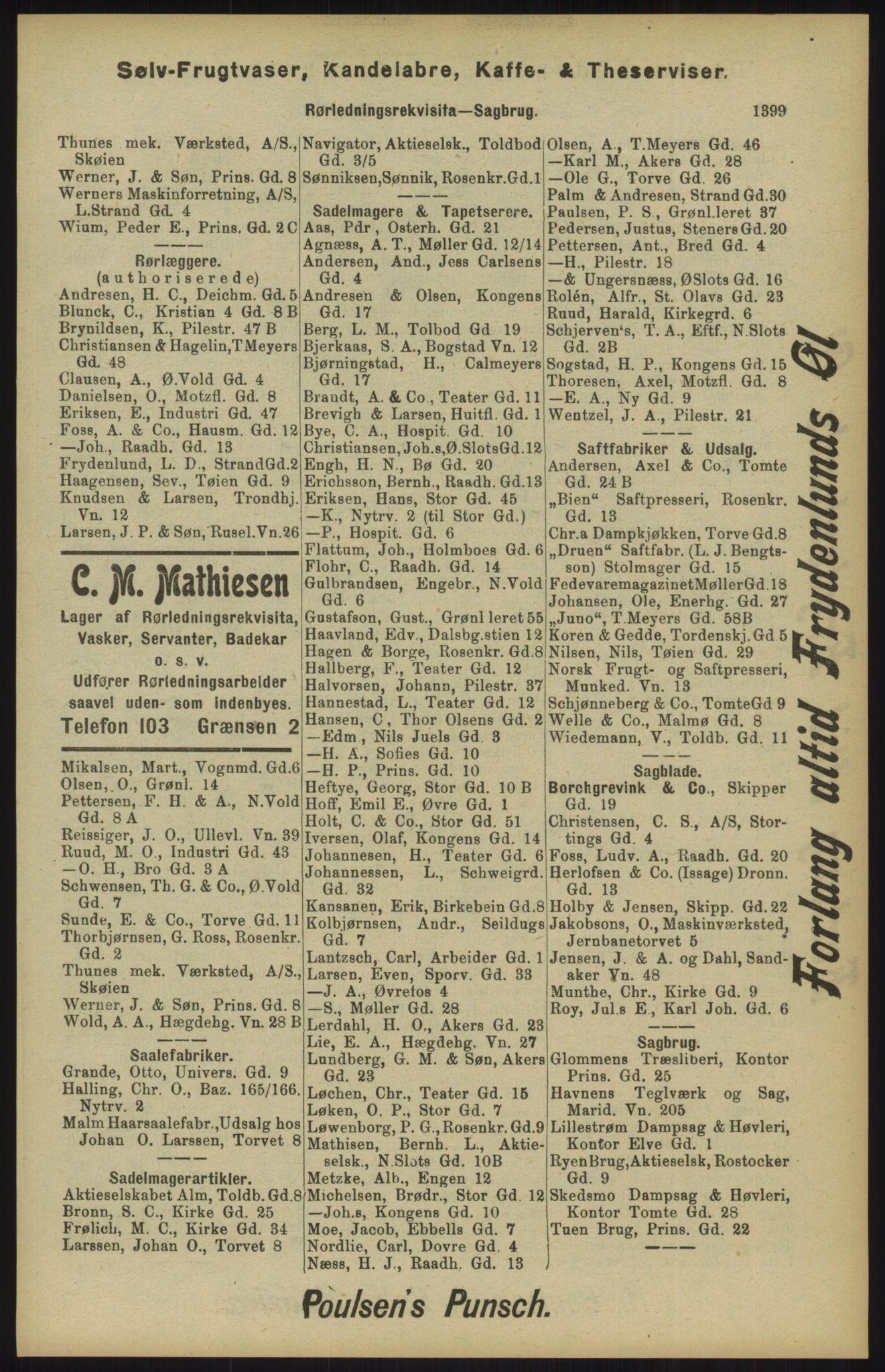 RA, Kristiania adressebok (publikasjon)*, 1904, s. 1399