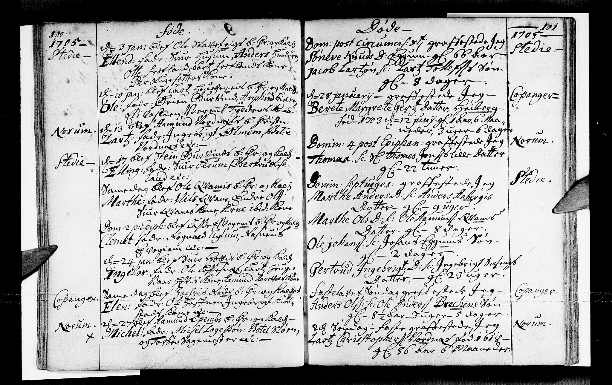 SAB, Sogndal sokneprestembete, H/Haa/Haaa/L0001: Ministerialbok nr. A 1, 1689-1713, s. 100-101