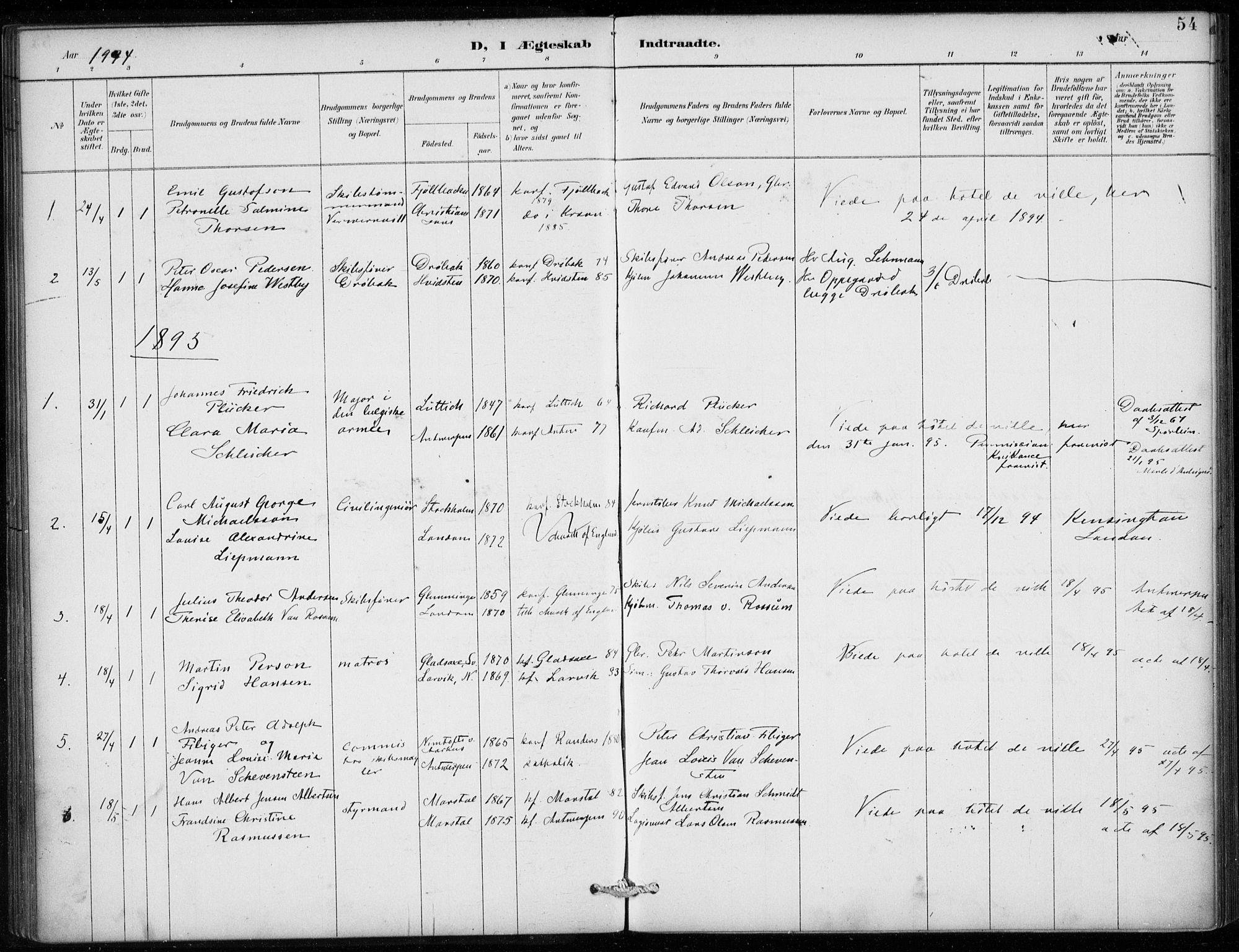 SAB, Den Norske Sjømannsmisjon i utlandet*, Ministerialbok nr. A 2, 1887-1913, s. 54
