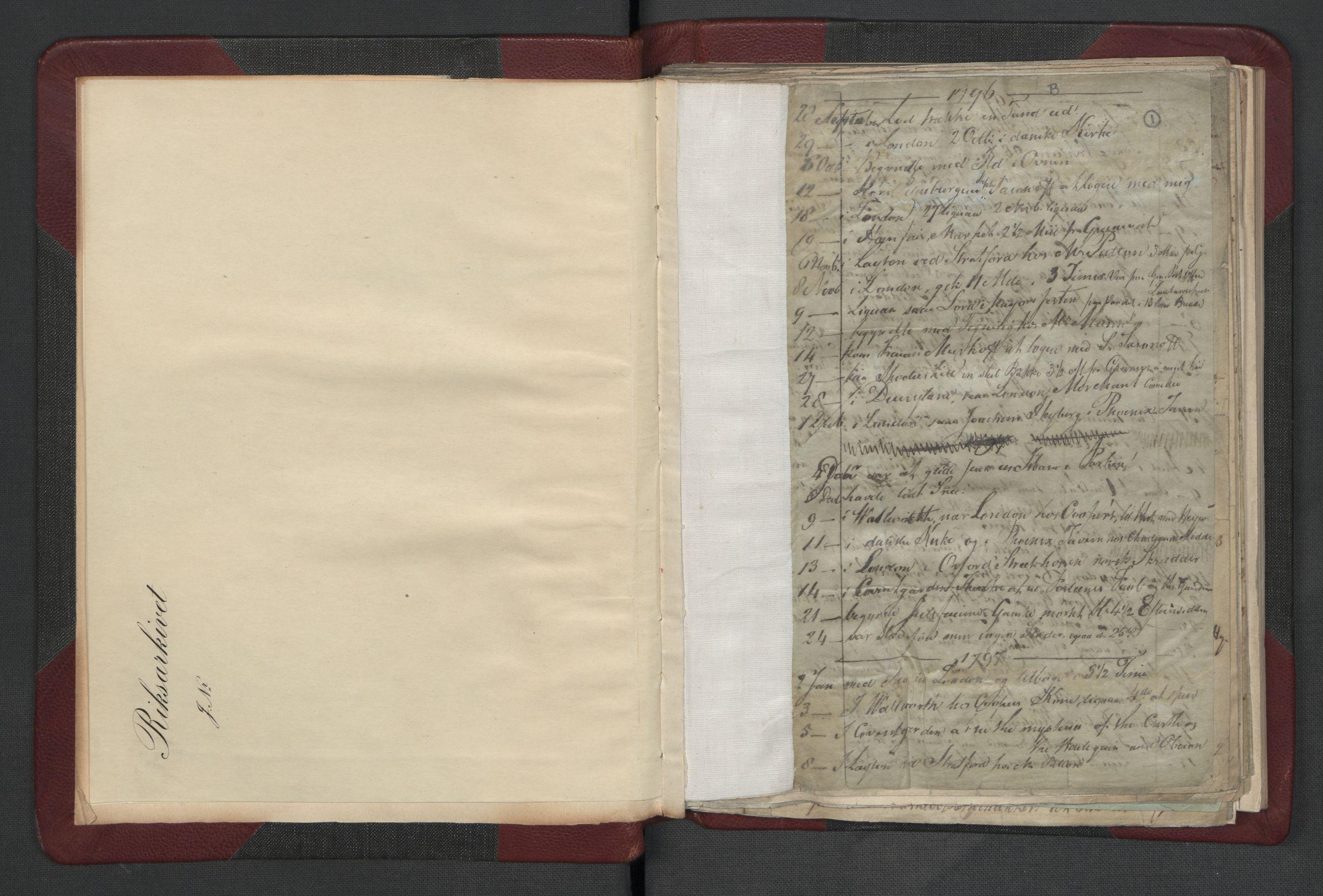 RA, Meltzer, Fredrik, F/L0002: Dagbok, 1796-1808, s. 1a