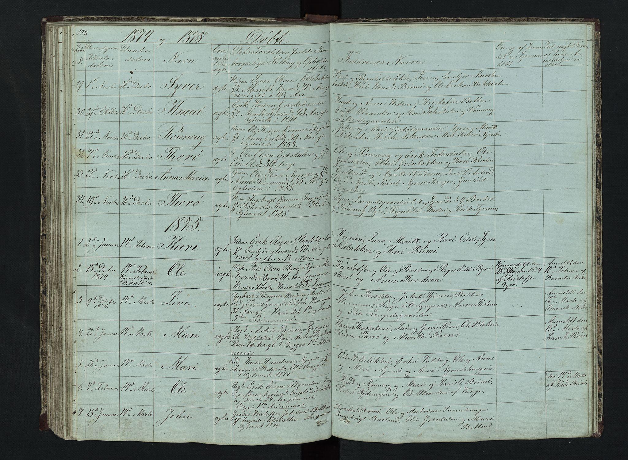 SAH, Lom prestekontor, L/L0014: Klokkerbok nr. 14, 1845-1876, s. 188-189