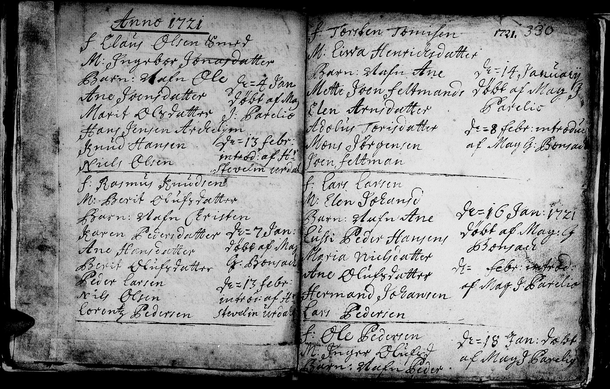 SAT, Ministerialprotokoller, klokkerbøker og fødselsregistre - Sør-Trøndelag, 601/L0035: Ministerialbok nr. 601A03, 1713-1728, s. 330