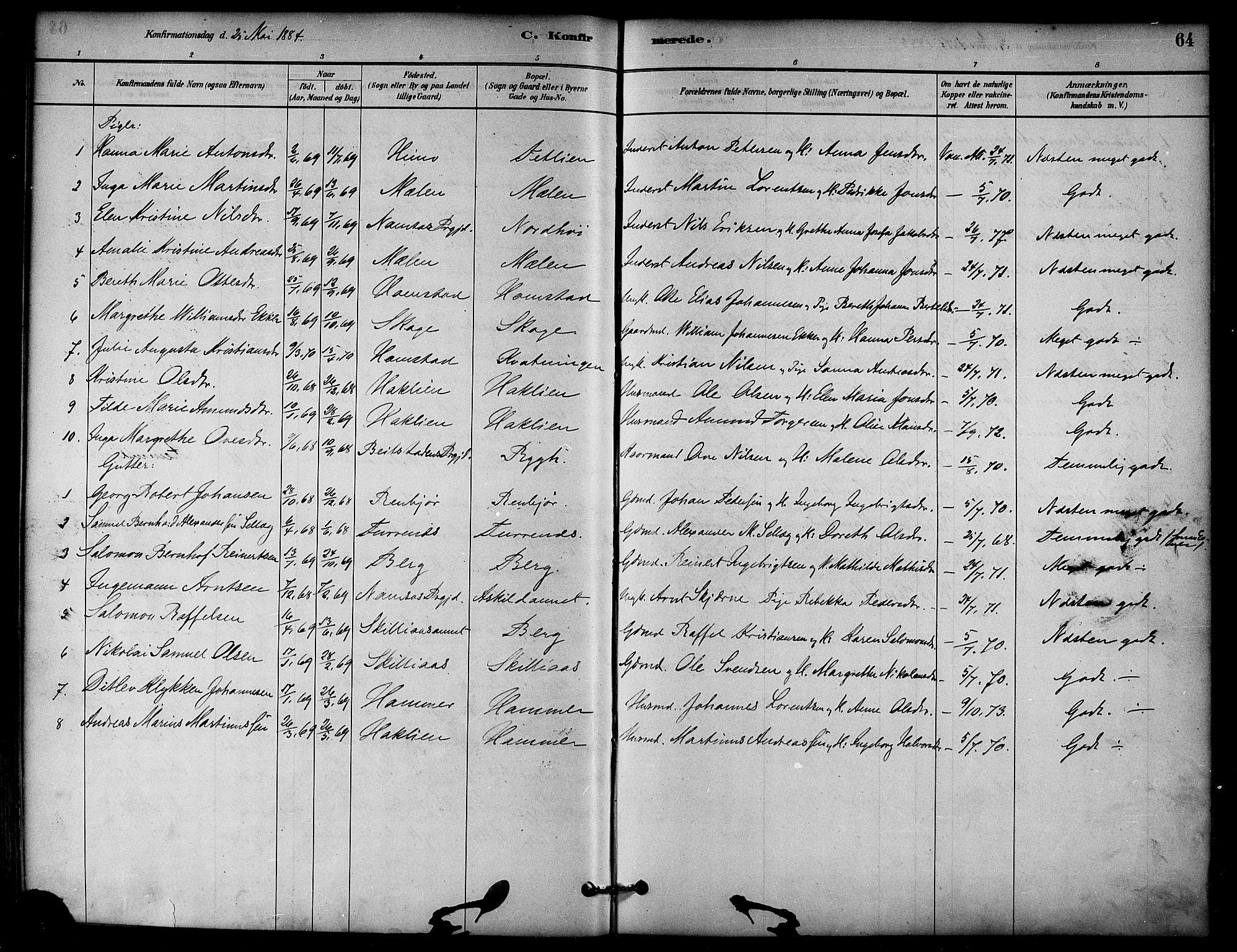 SAT, Ministerialprotokoller, klokkerbøker og fødselsregistre - Nord-Trøndelag, 766/L0563: Ministerialbok nr. 767A01, 1881-1899, s. 64