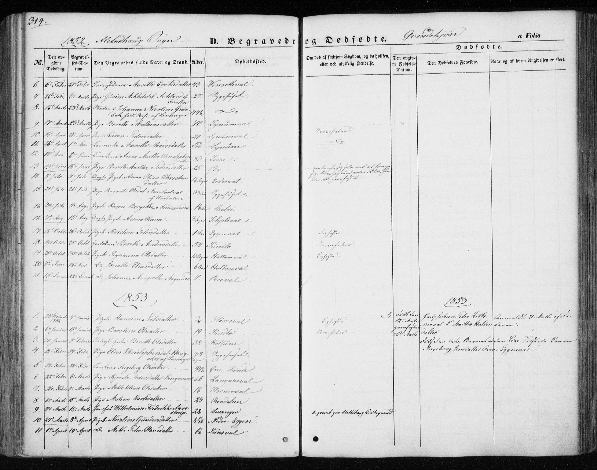SAT, Ministerialprotokoller, klokkerbøker og fødselsregistre - Nord-Trøndelag, 717/L0154: Ministerialbok nr. 717A07 /1, 1850-1862, s. 314