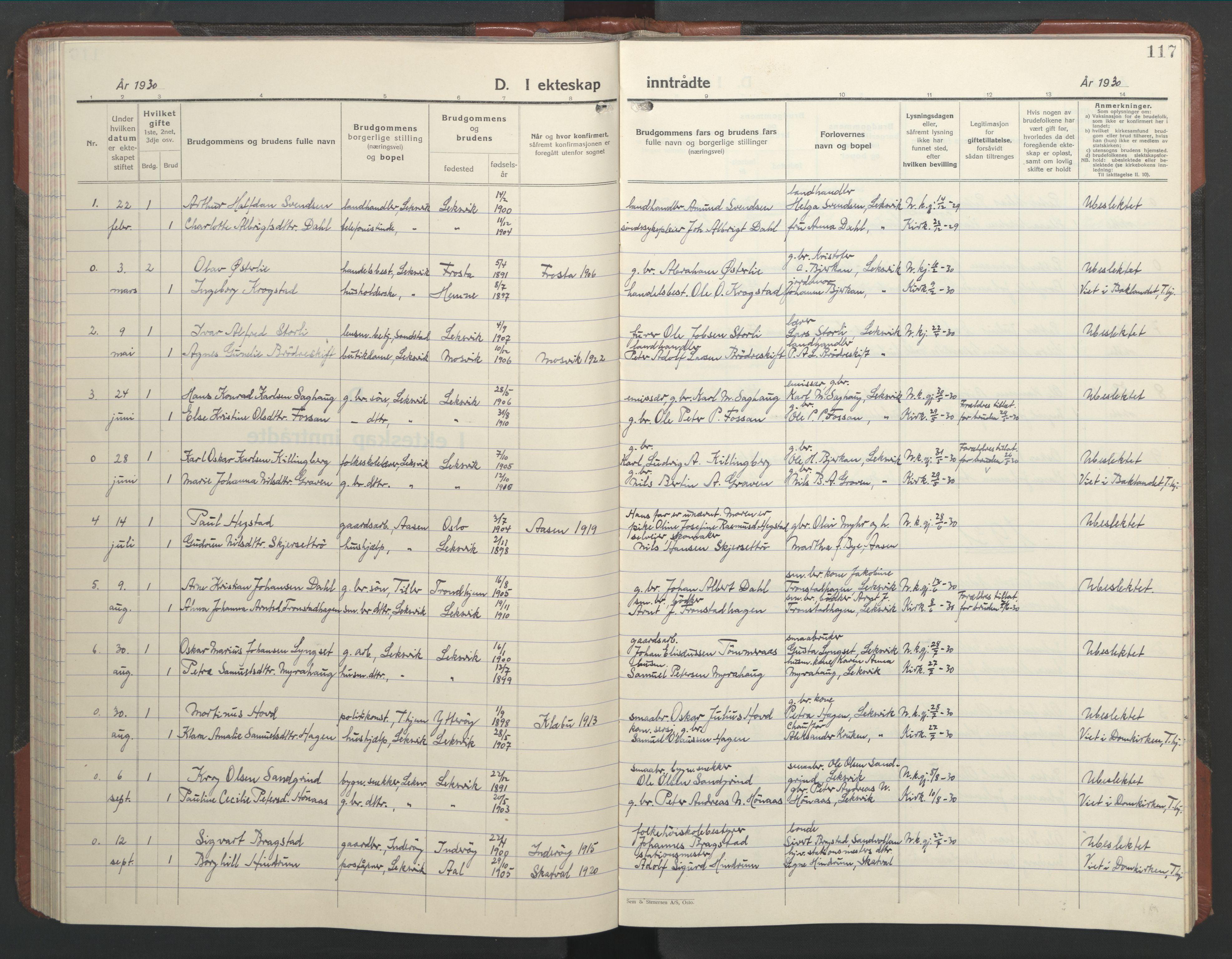 SAT, Ministerialprotokoller, klokkerbøker og fødselsregistre - Nord-Trøndelag, 701/L0019: Klokkerbok nr. 701C03, 1930-1953, s. 117