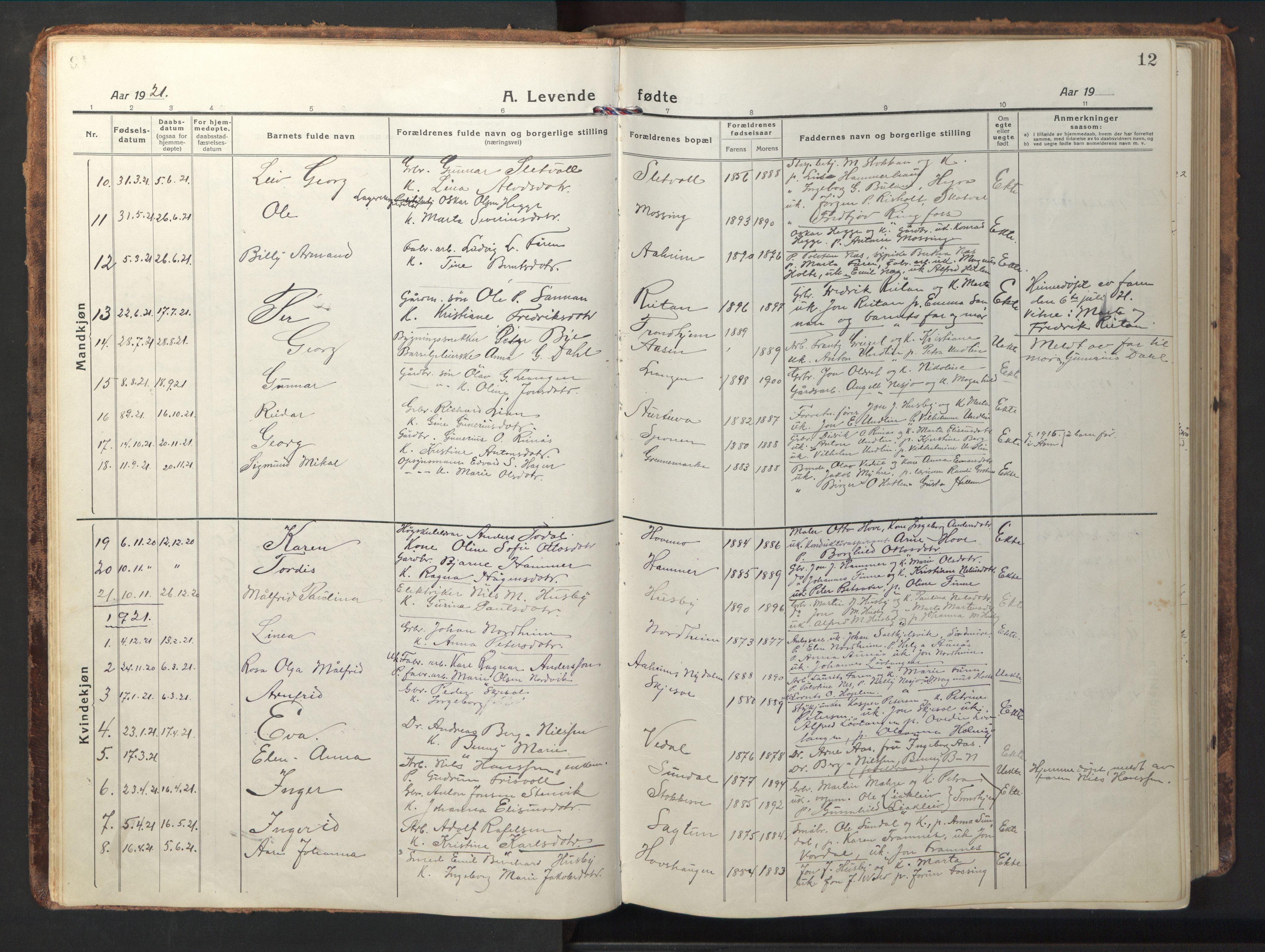 SAT, Ministerialprotokoller, klokkerbøker og fødselsregistre - Nord-Trøndelag, 714/L0136: Klokkerbok nr. 714C05, 1918-1957, s. 12