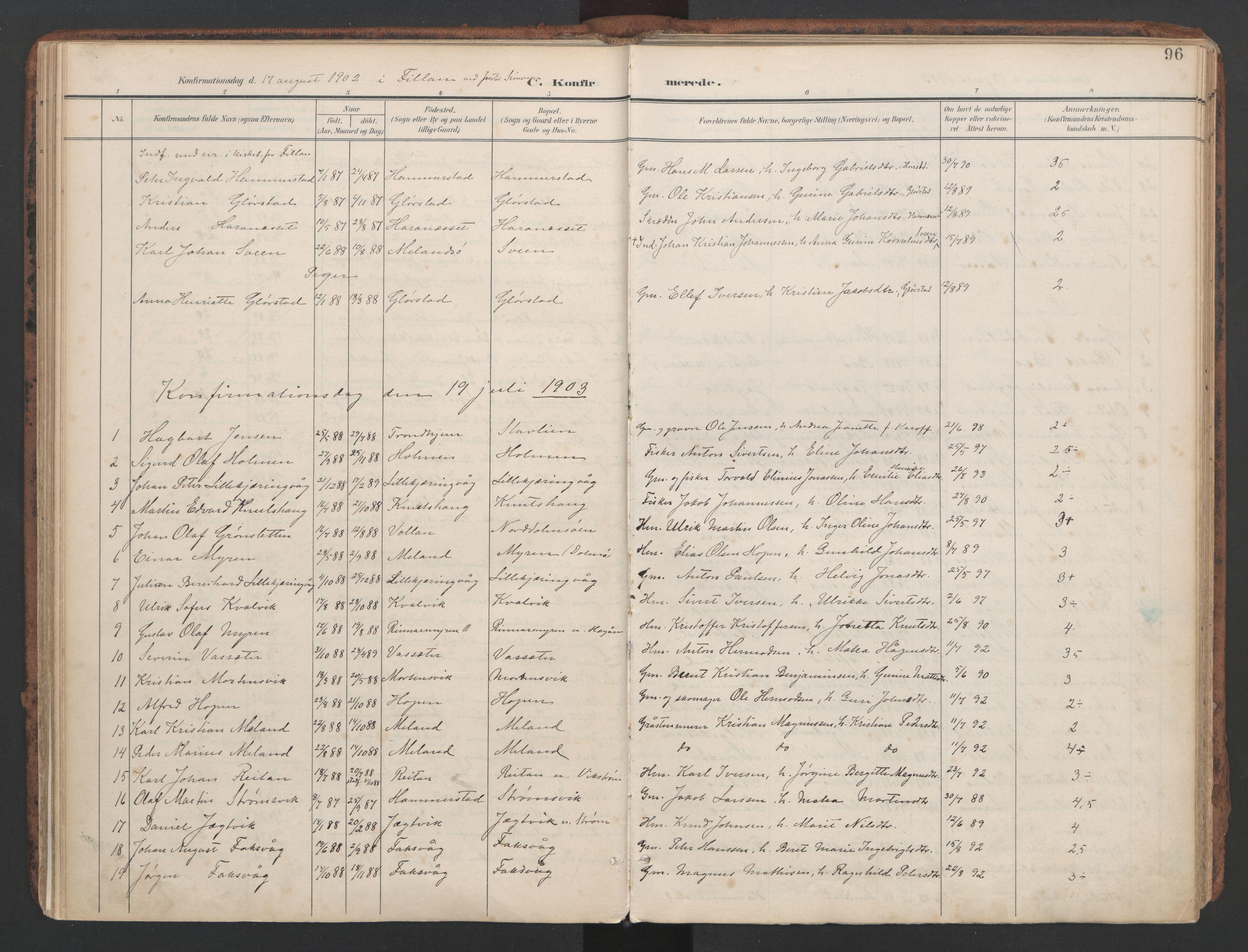 SAT, Ministerialprotokoller, klokkerbøker og fødselsregistre - Sør-Trøndelag, 634/L0537: Ministerialbok nr. 634A13, 1896-1922, s. 96