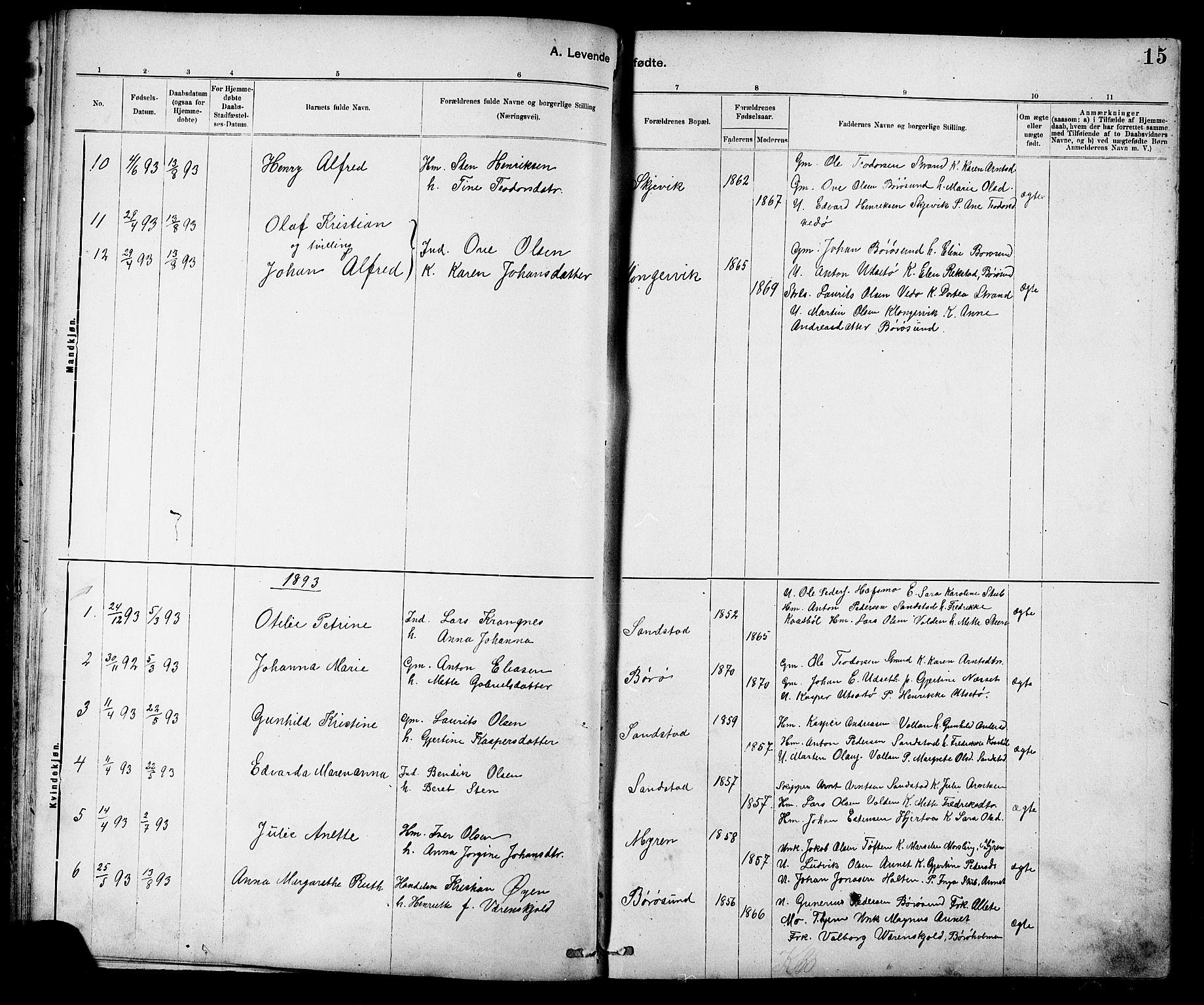 SAT, Ministerialprotokoller, klokkerbøker og fødselsregistre - Sør-Trøndelag, 639/L0573: Klokkerbok nr. 639C01, 1890-1905, s. 15