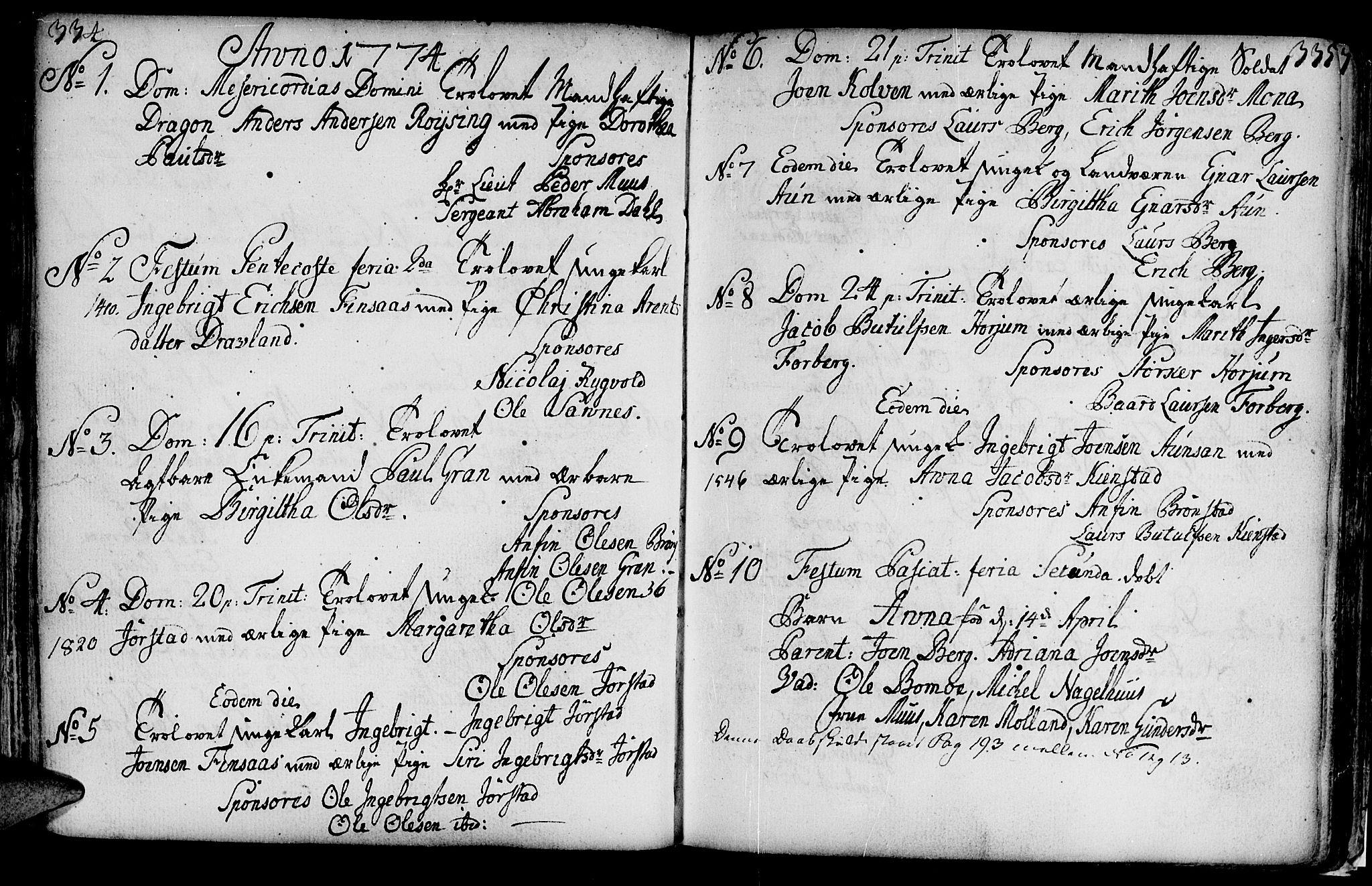 SAT, Ministerialprotokoller, klokkerbøker og fødselsregistre - Nord-Trøndelag, 749/L0467: Ministerialbok nr. 749A01, 1733-1787, s. 334-335
