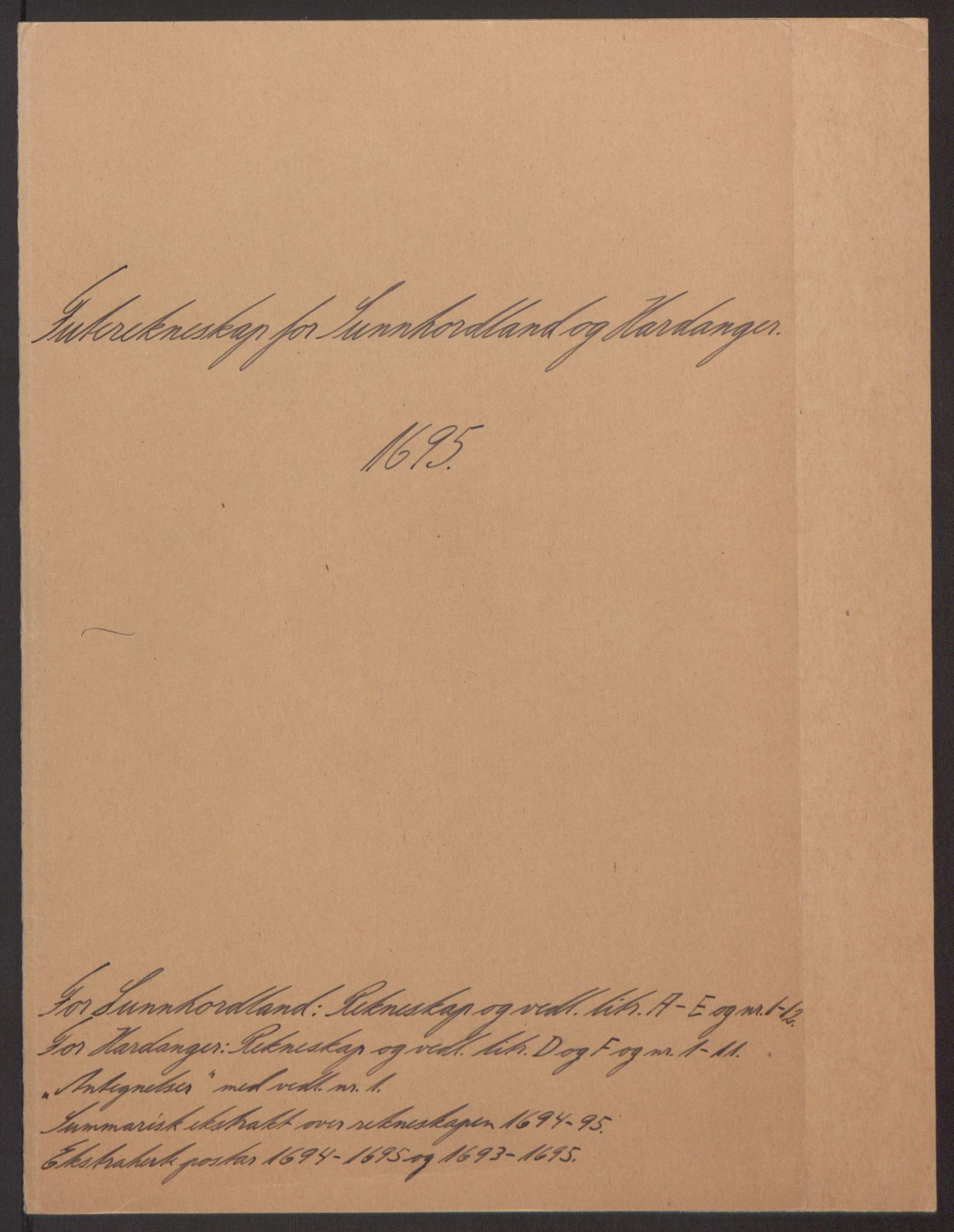 RA, Rentekammeret inntil 1814, Reviderte regnskaper, Fogderegnskap, R48/L2976: Fogderegnskap Sunnhordland og Hardanger, 1695-1696, s. 2