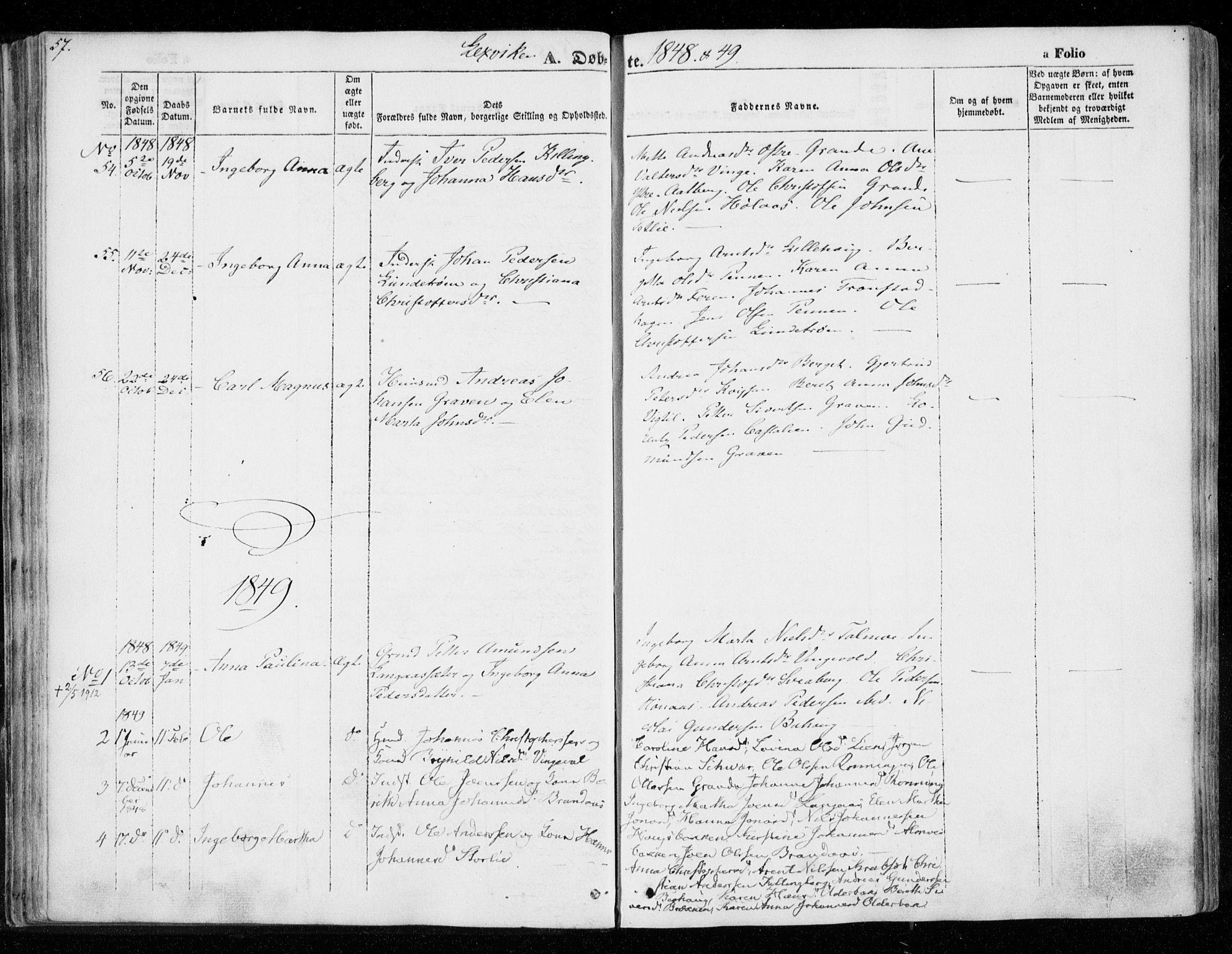 SAT, Ministerialprotokoller, klokkerbøker og fødselsregistre - Nord-Trøndelag, 701/L0007: Ministerialbok nr. 701A07 /1, 1842-1854, s. 57