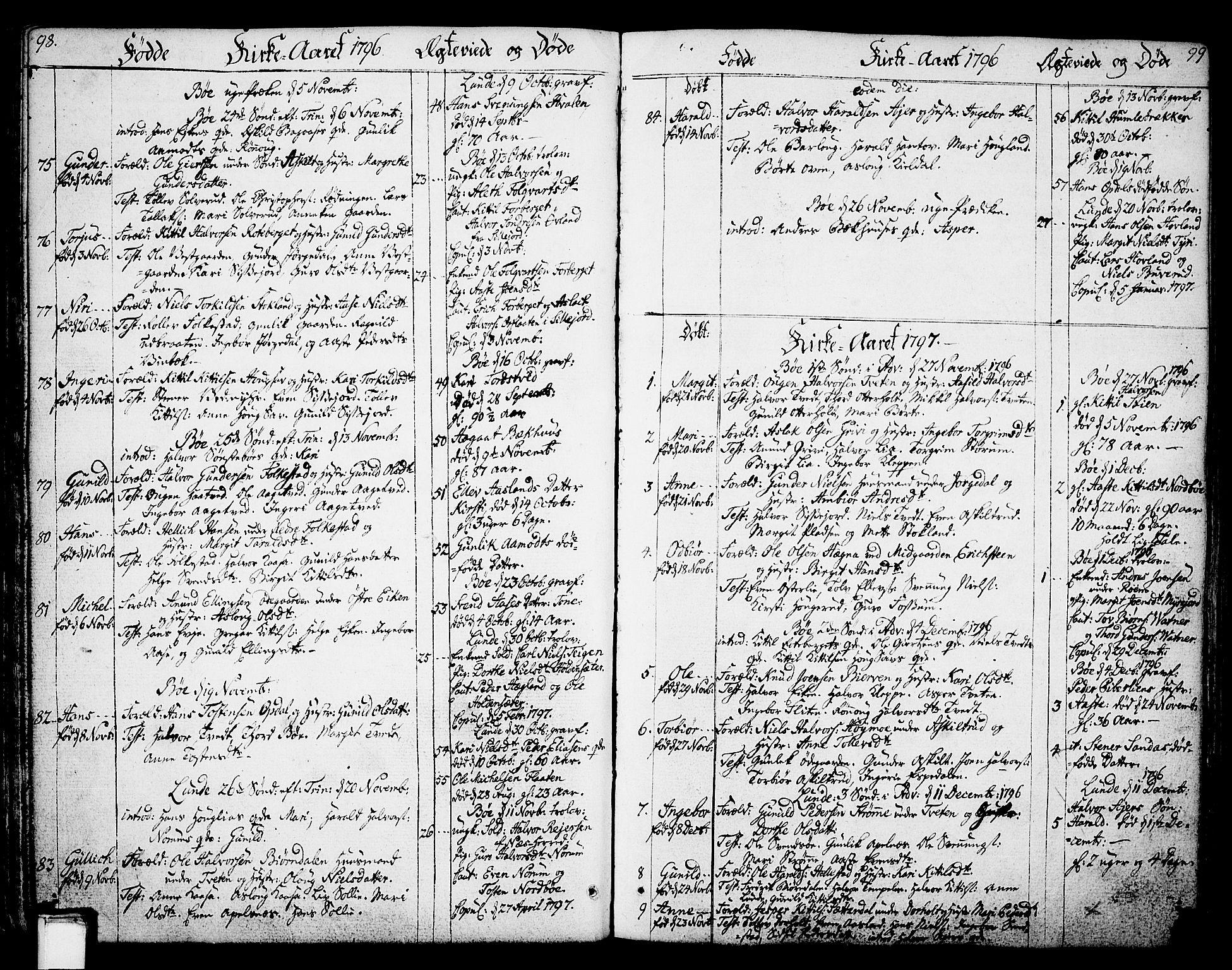 SAKO, Bø kirkebøker, F/Fa/L0005: Ministerialbok nr. 5, 1785-1815, s. 98-99