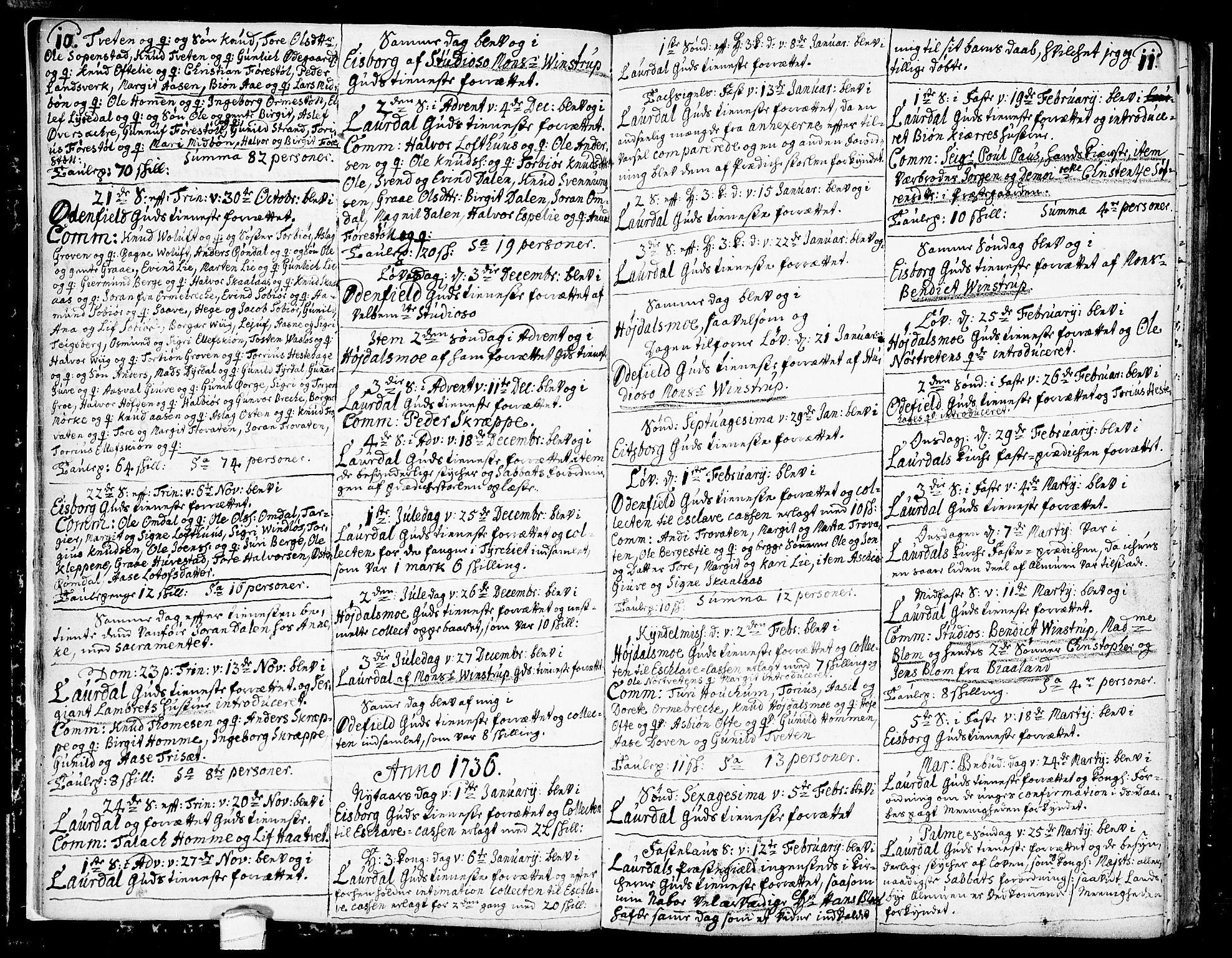 SAKO, Lårdal kirkebøker, F/Fa/L0002: Ministerialbok nr. I 2, 1734-1754, s. 10-11
