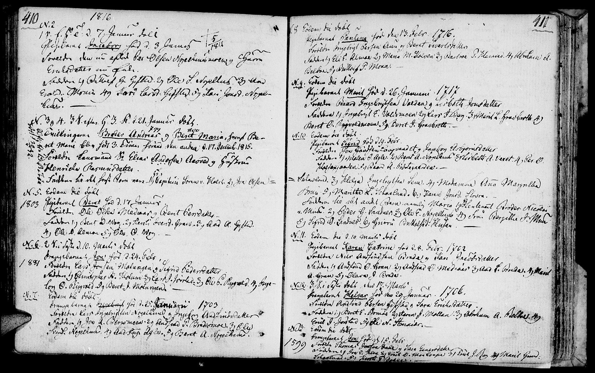 SAT, Ministerialprotokoller, klokkerbøker og fødselsregistre - Nord-Trøndelag, 749/L0468: Ministerialbok nr. 749A02, 1787-1817, s. 410-411