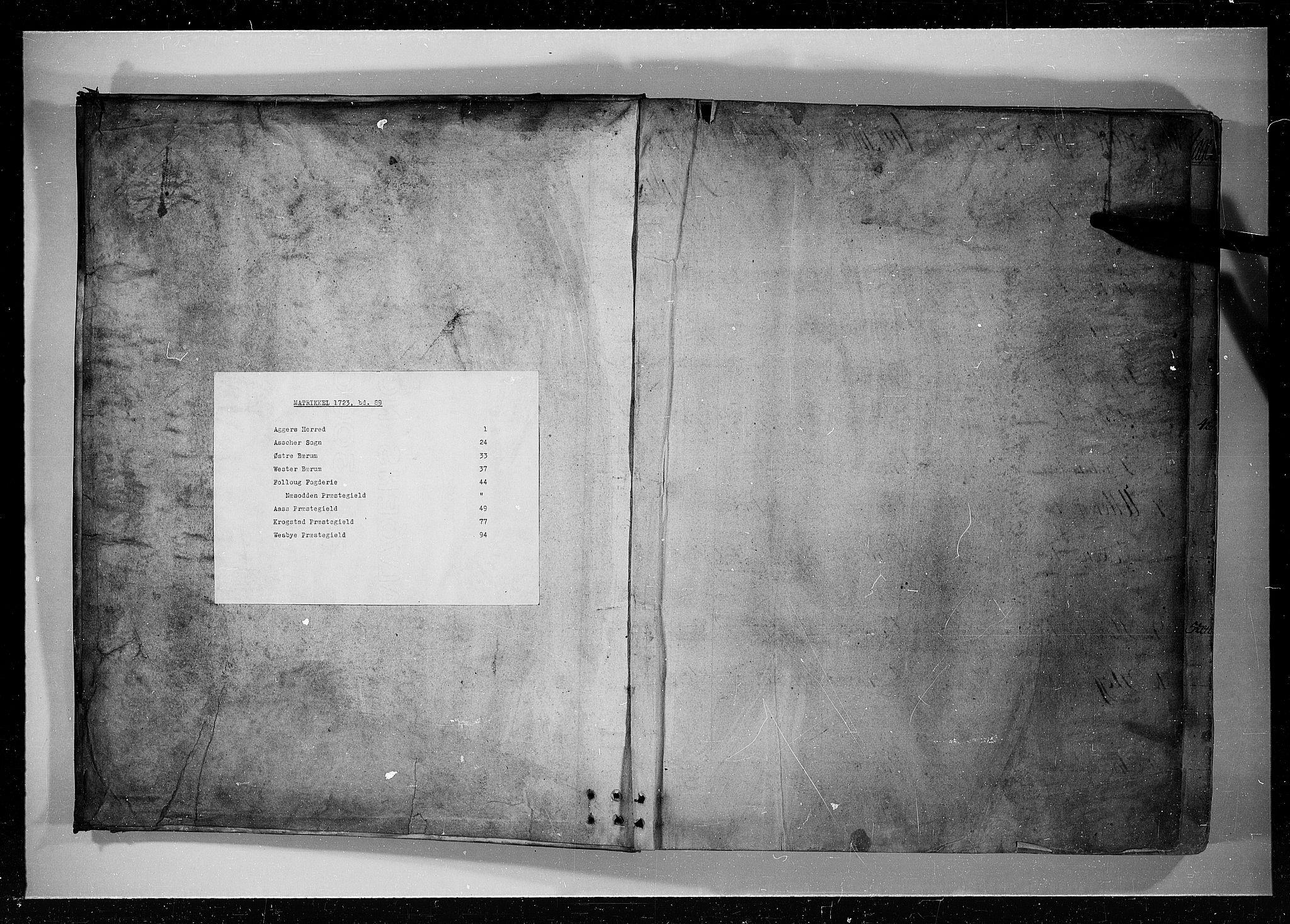 RA, Rentekammeret inntil 1814, Realistisk ordnet avdeling, N/Nb/Nbf/L0089: Aker og Follo eksaminasjonsprotokoll, 1723, s. upaginert