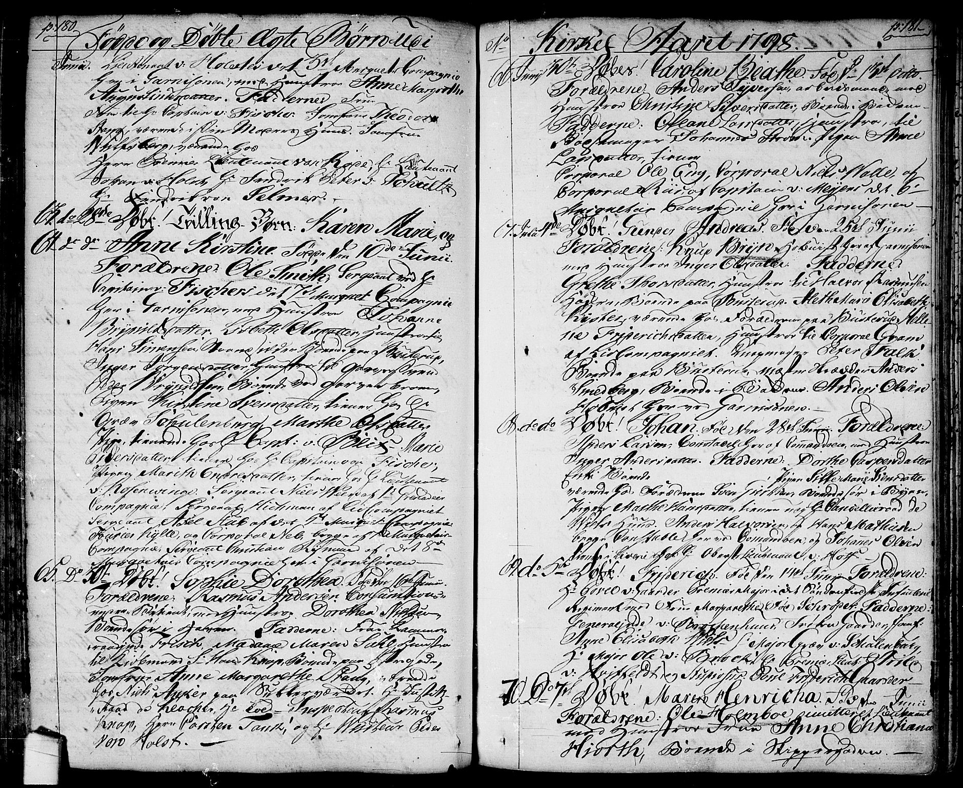 SAO, Halden prestekontor Kirkebøker, F/Fa/L0002: Ministerialbok nr. I 2, 1792-1812, s. 180-181