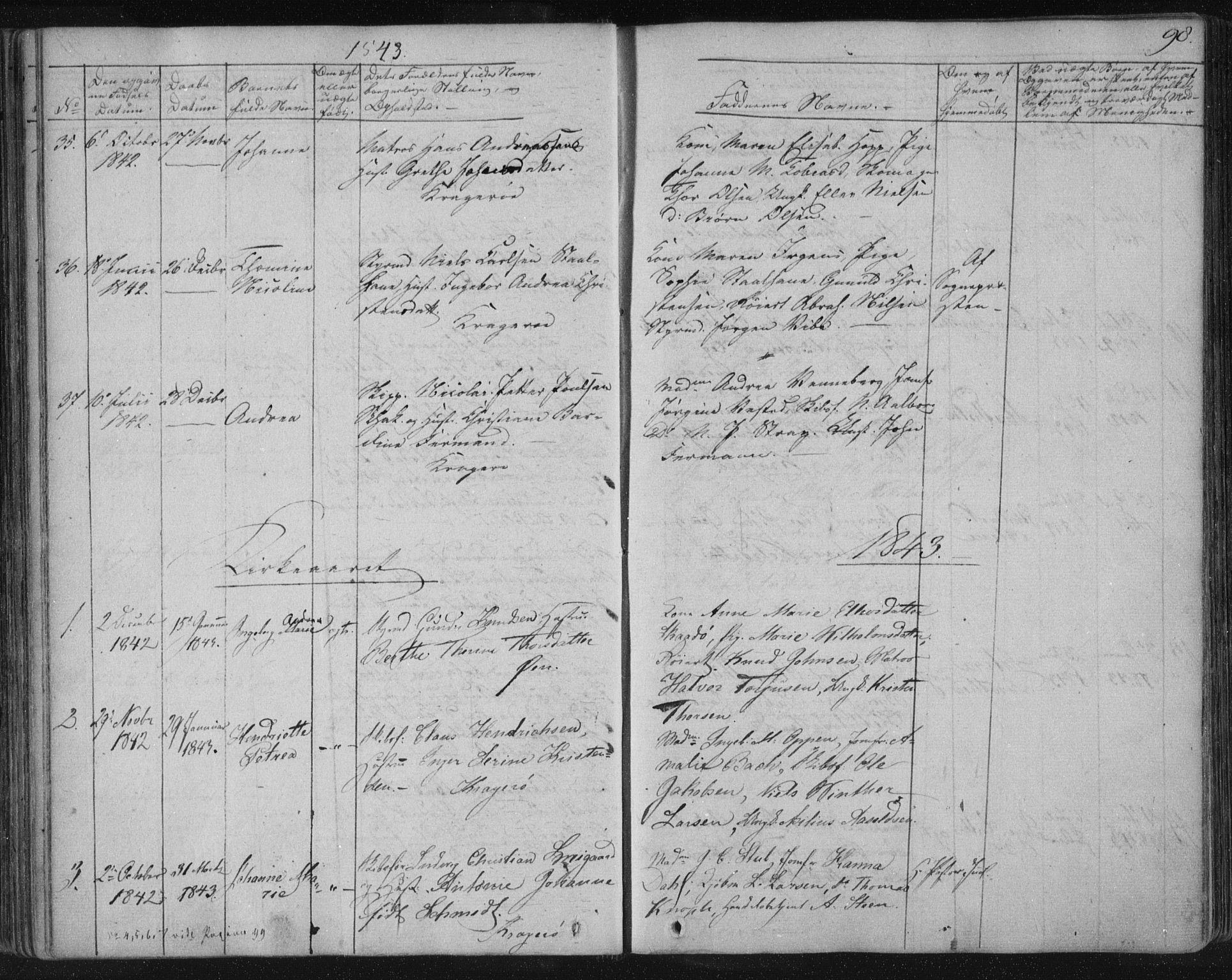 SAKO, Kragerø kirkebøker, F/Fa/L0005: Ministerialbok nr. 5, 1832-1847, s. 98
